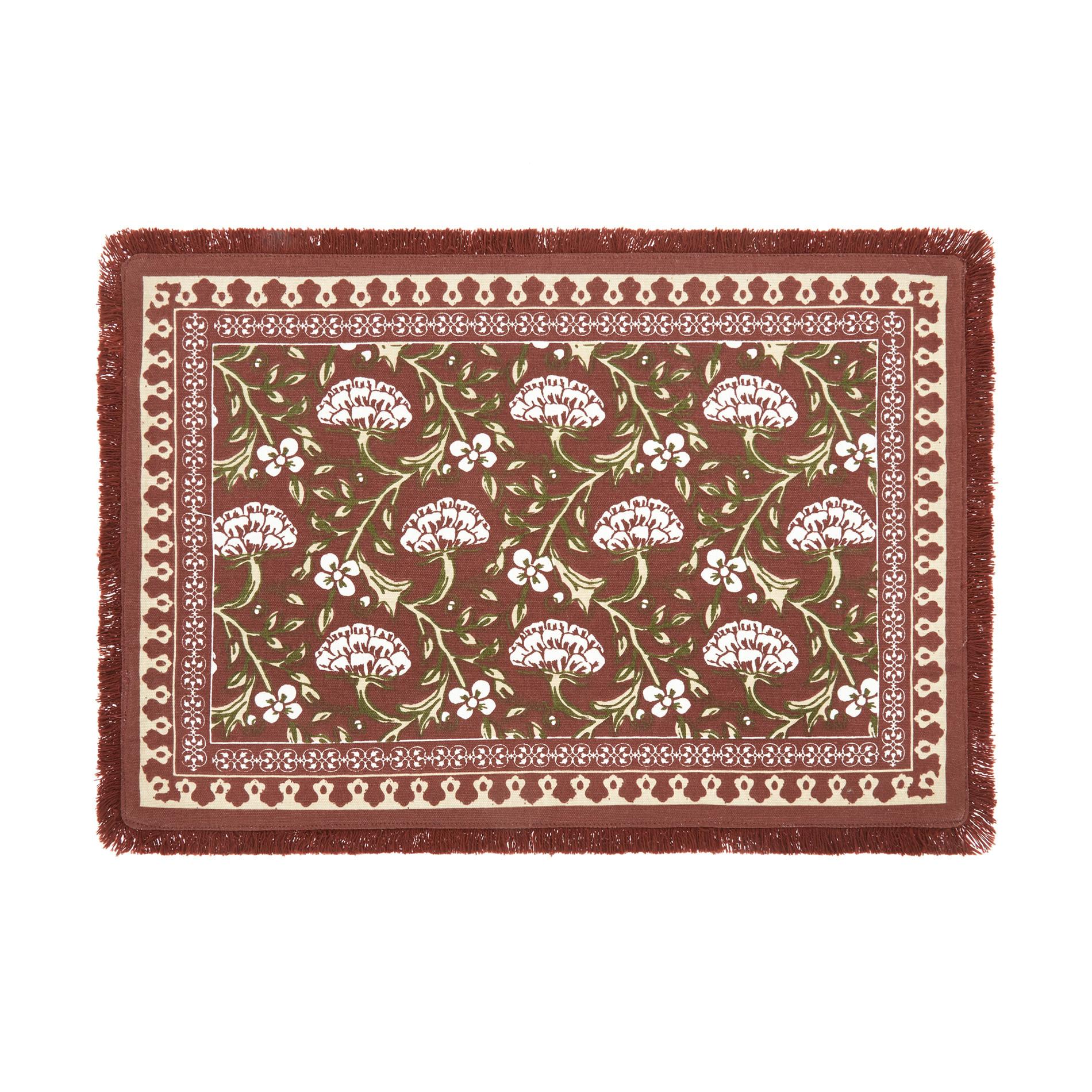 Tovaglietta puro cotone stampa ornamentale, Marrone chiaro, large image number 0