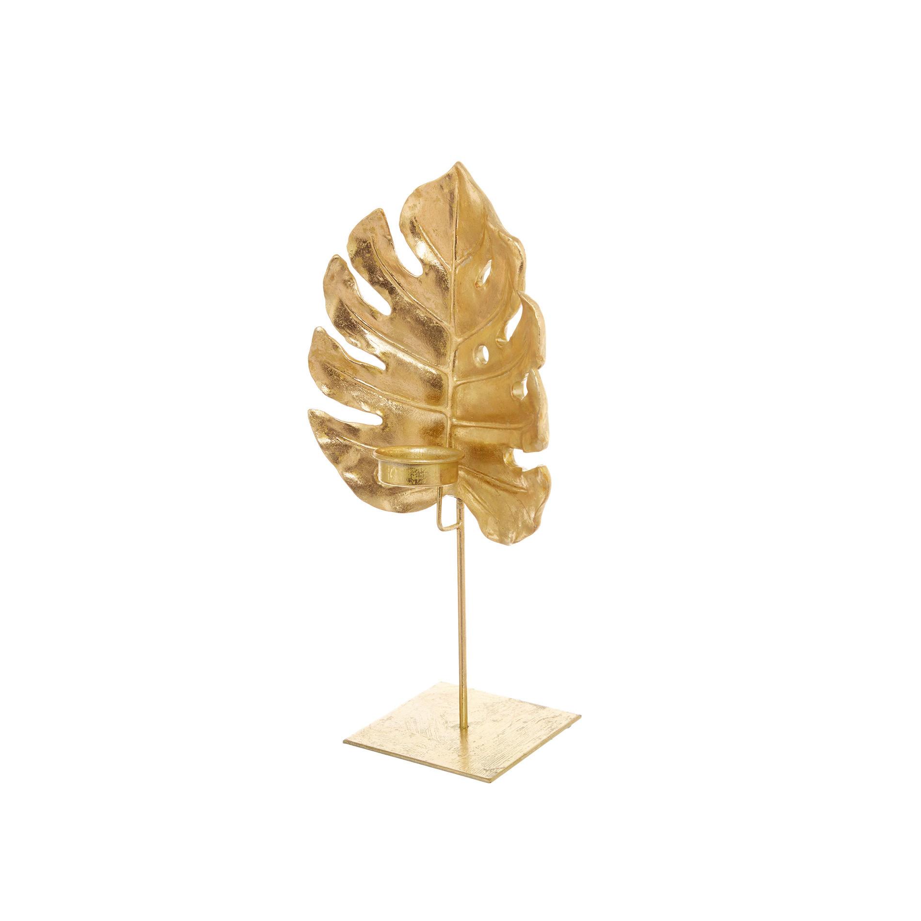 Porta tealight a foglia, Oro, large image number 0