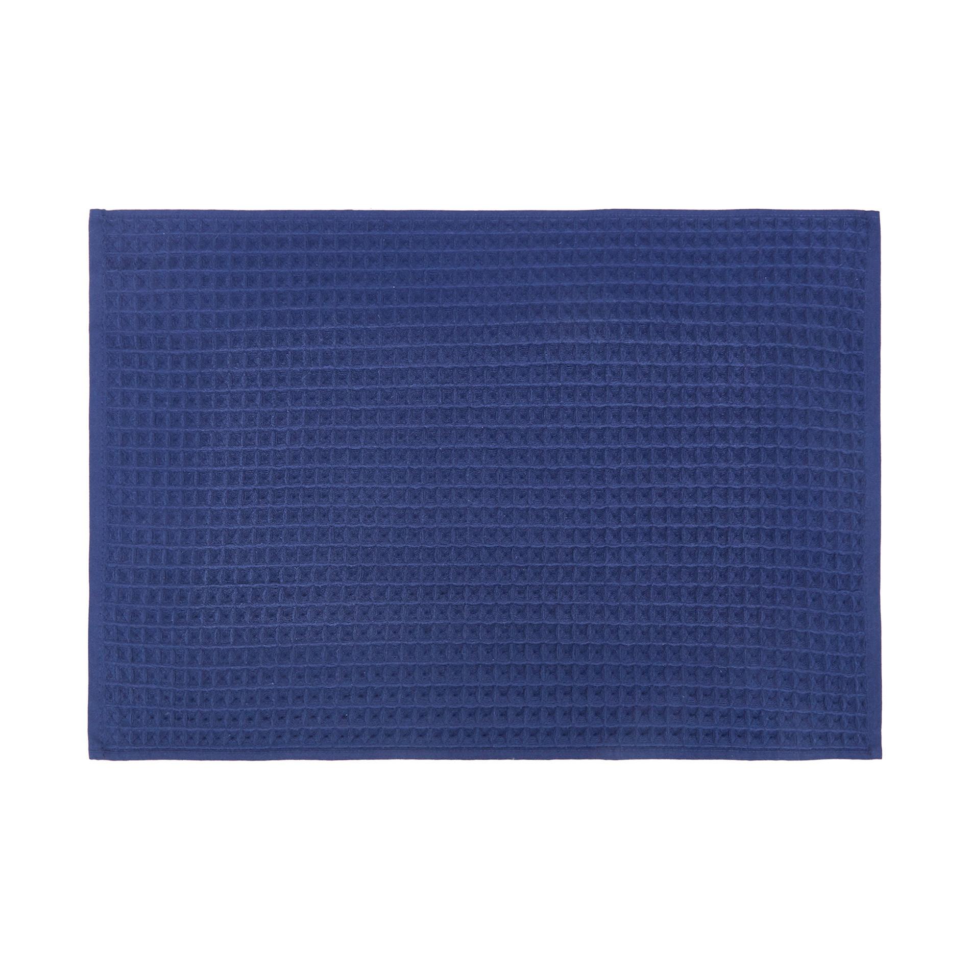 Set asciugamani cotone nido d'ape tinta unita, Blu scuro, large image number 2