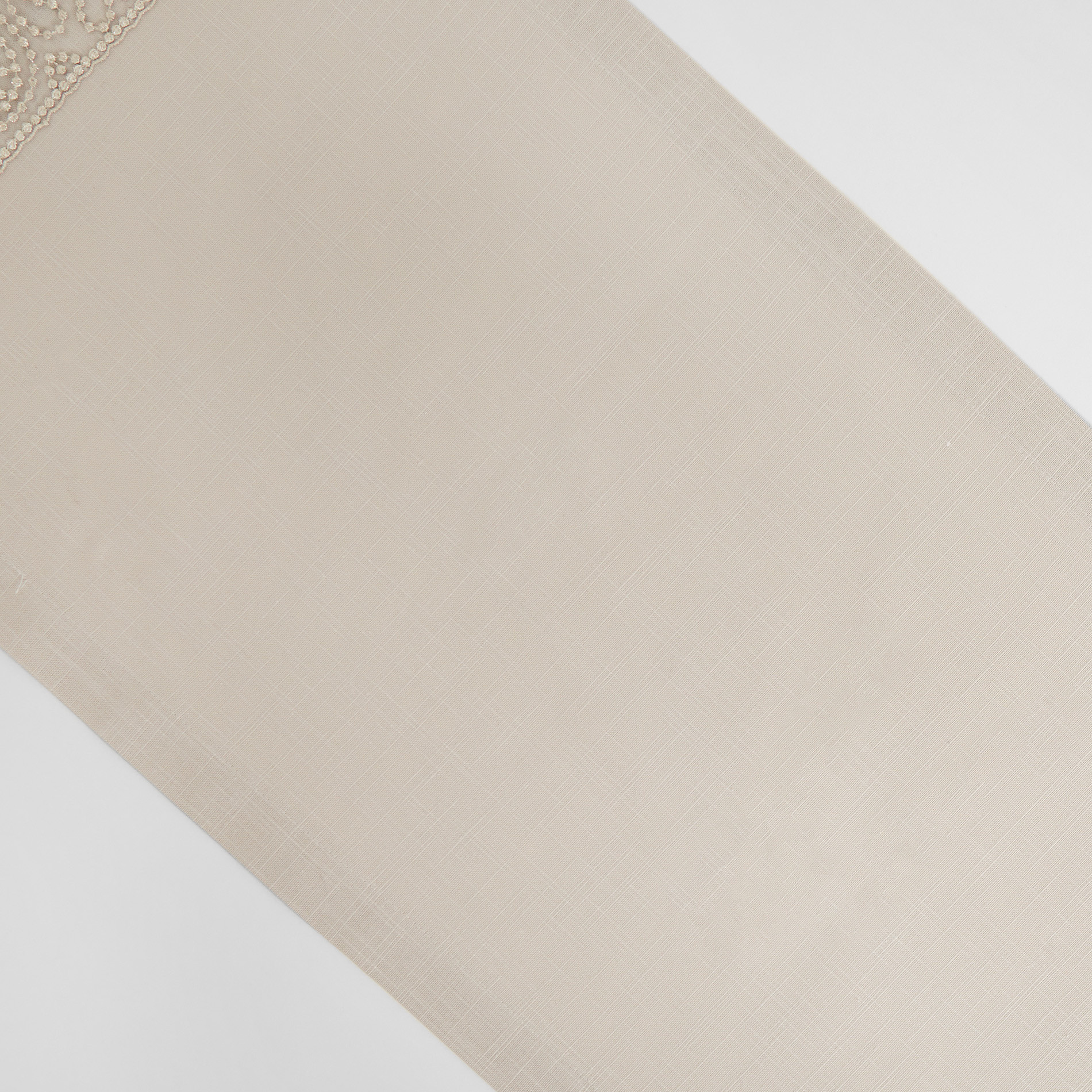 Runner puro cotone bordo in tulle e lurex, Beige chiaro, large image number 1