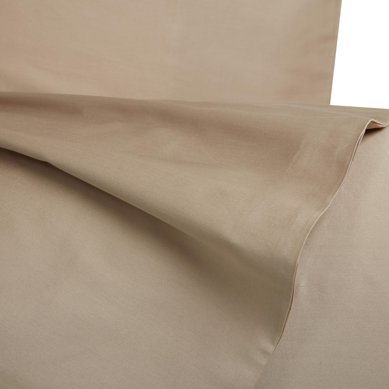 Parure copripiumino raso di puro cotone Zefiro, Beige torrone, large image number 2