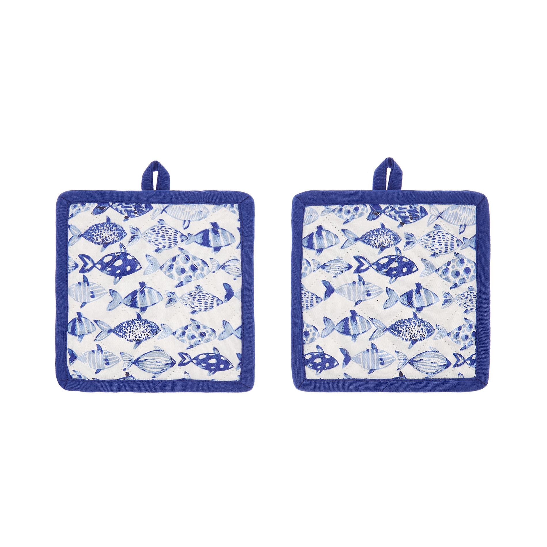 Set 2 presine puro cotone stampa pesci, Azzurro, large image number 0