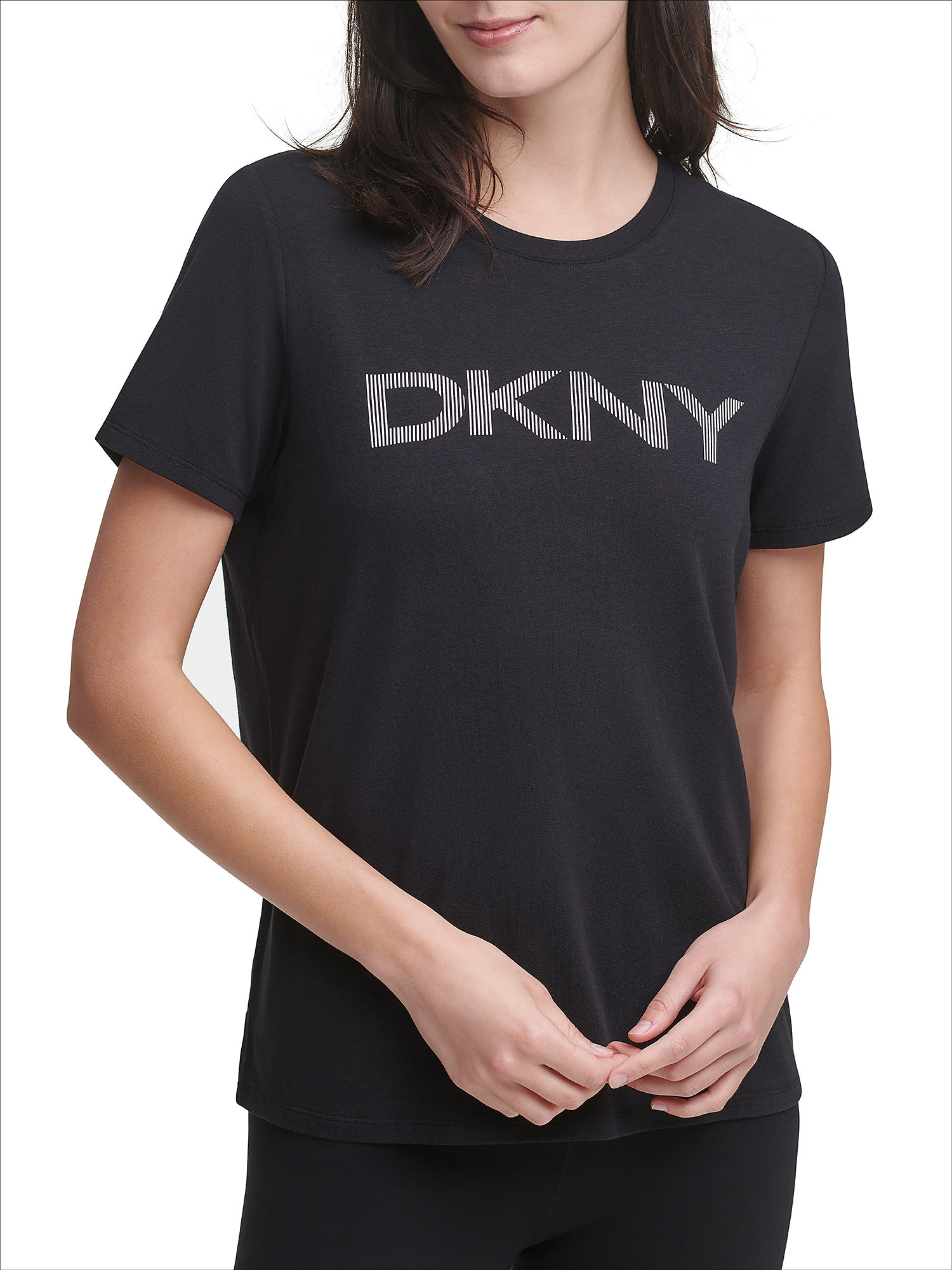 T-shirt con stripe logo, Nero, large image number 4