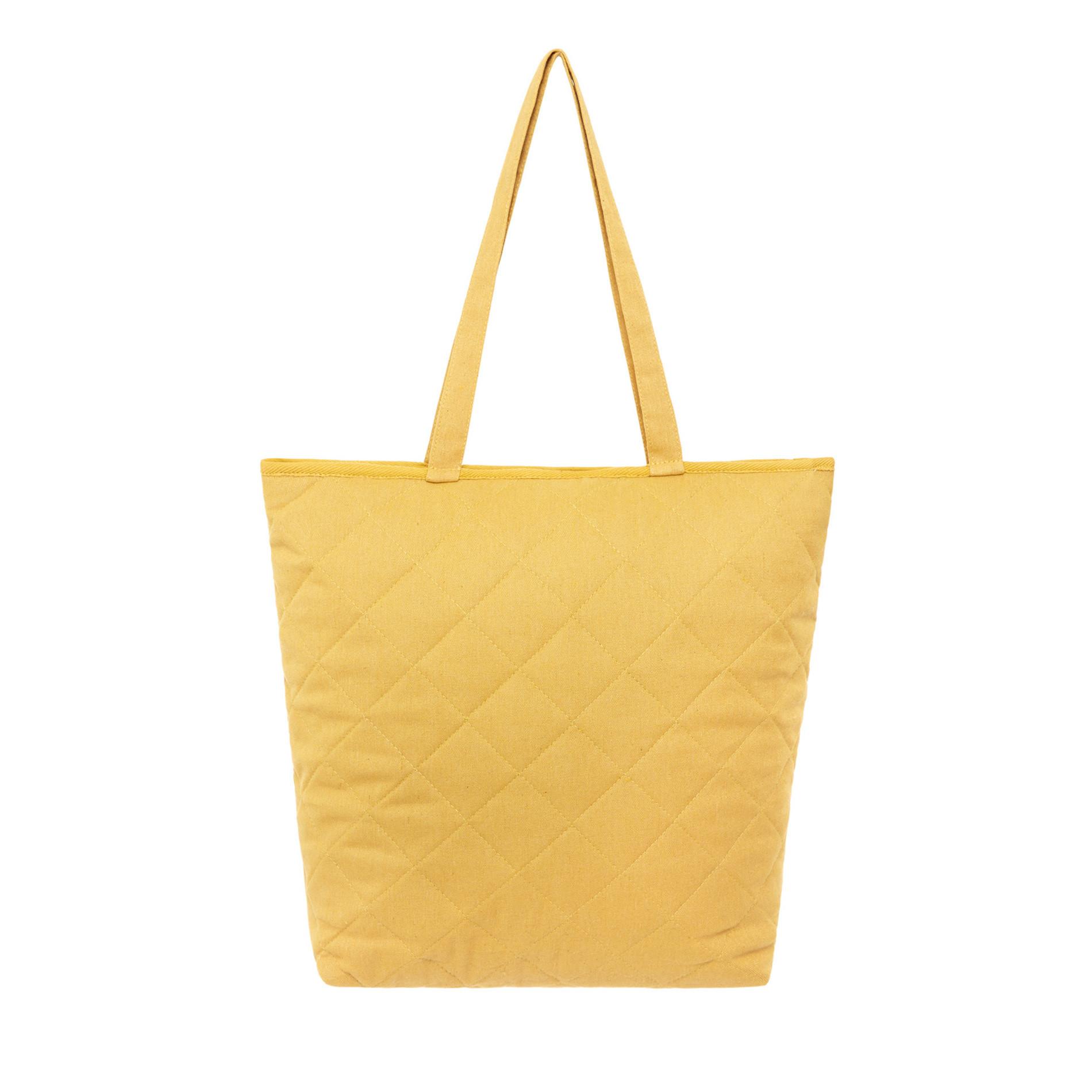 Shopper bag tessuto trapuntato, Giallo, large image number 0
