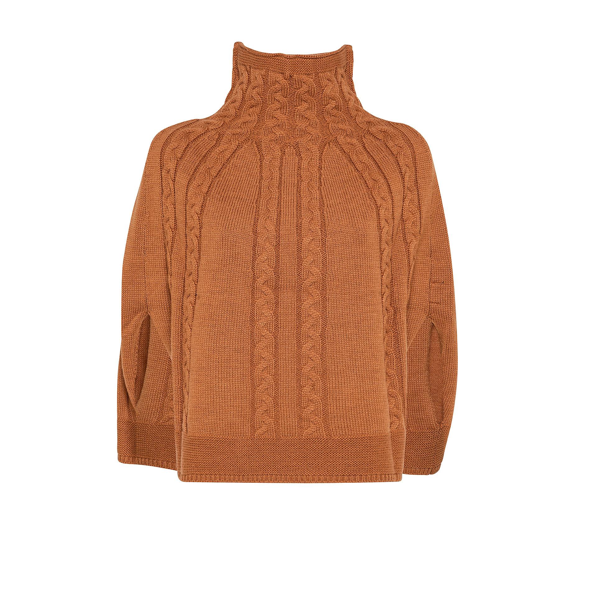 Sciarpa poncho in maglia a trecce Koan, Giallo, large image number 0