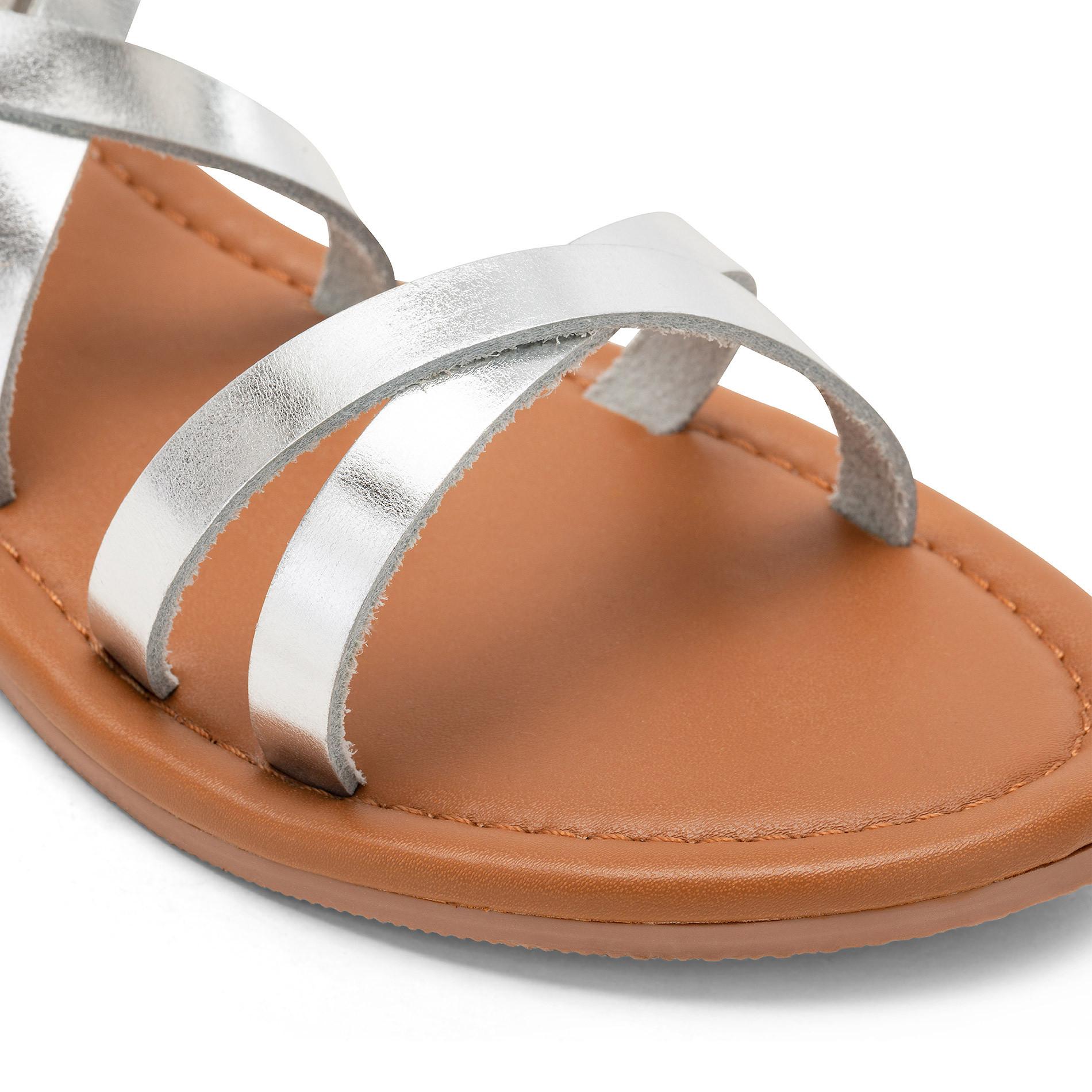 Sandalo con fascette metallizzate, Grigio argento, large image number 2