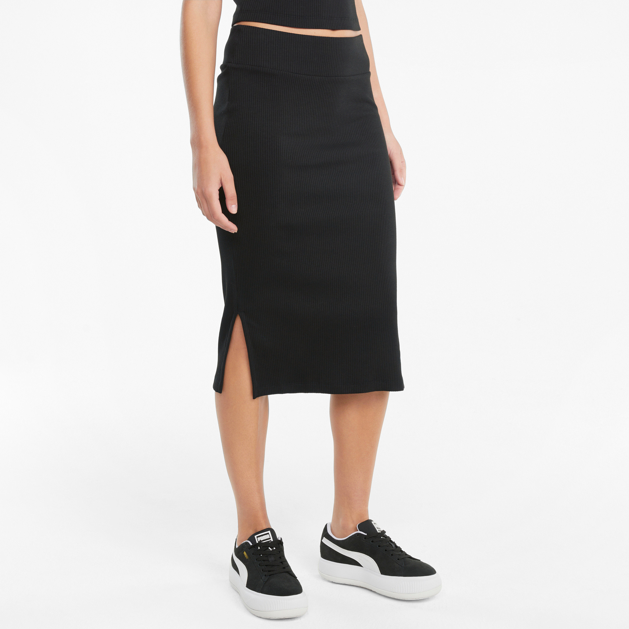 Gonna sportiva midi a coste Classics Collection, Nero, large image number 2