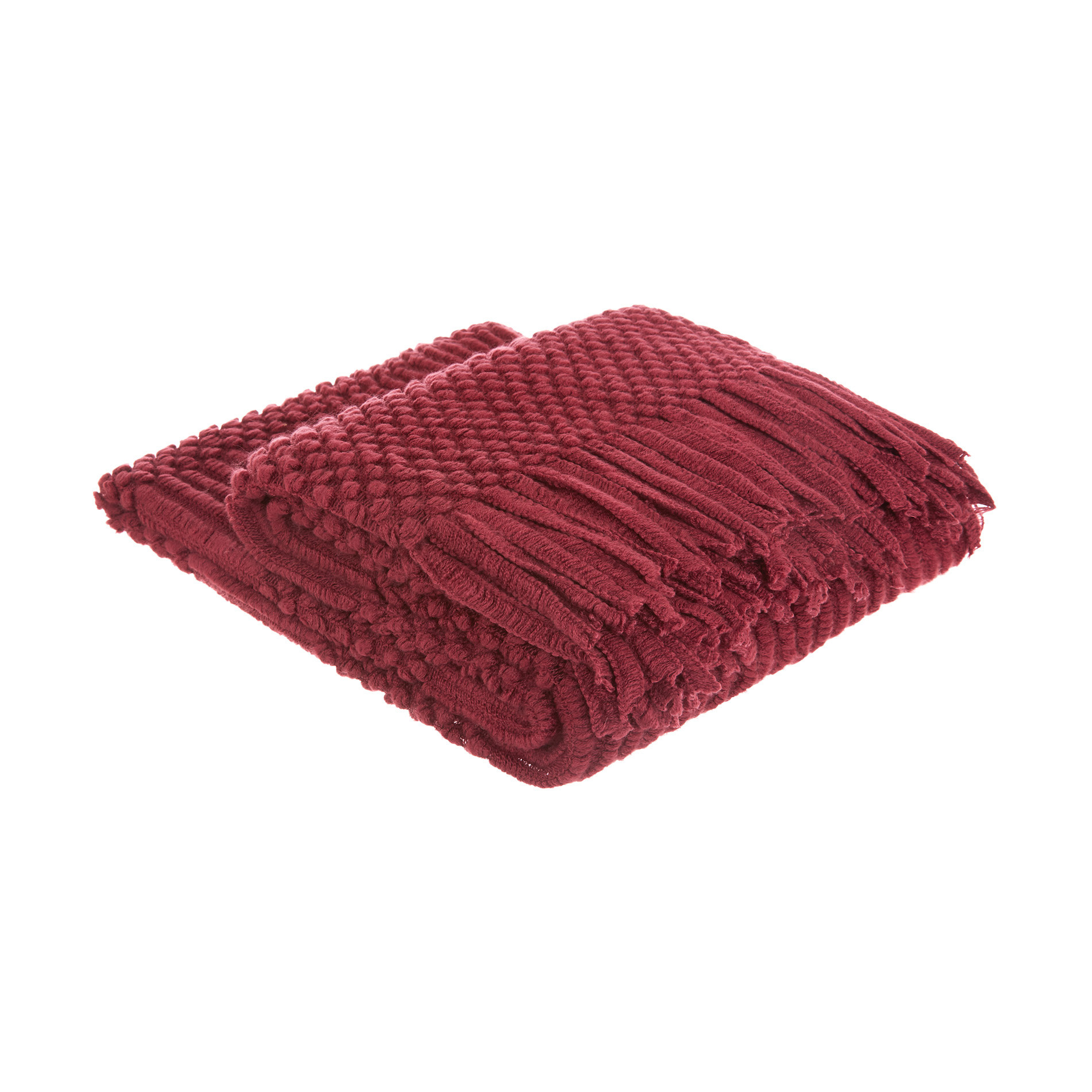 Plaid tinta unita con frange, Rosso scuro, large image number 0