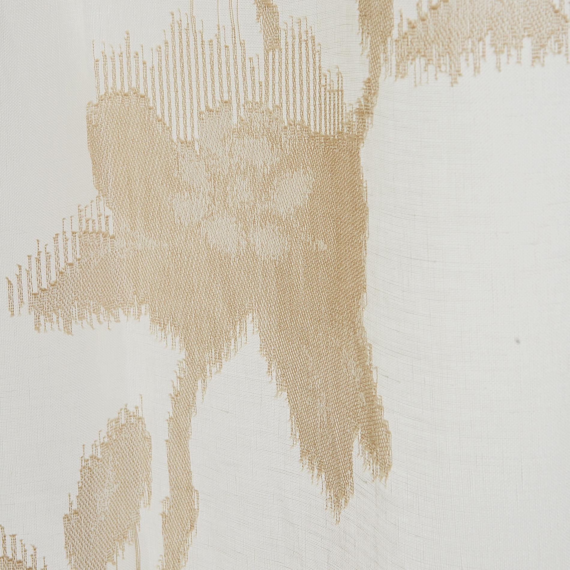 Tenda puro lino ricami floreali, Bianco/Oro, large image number 3