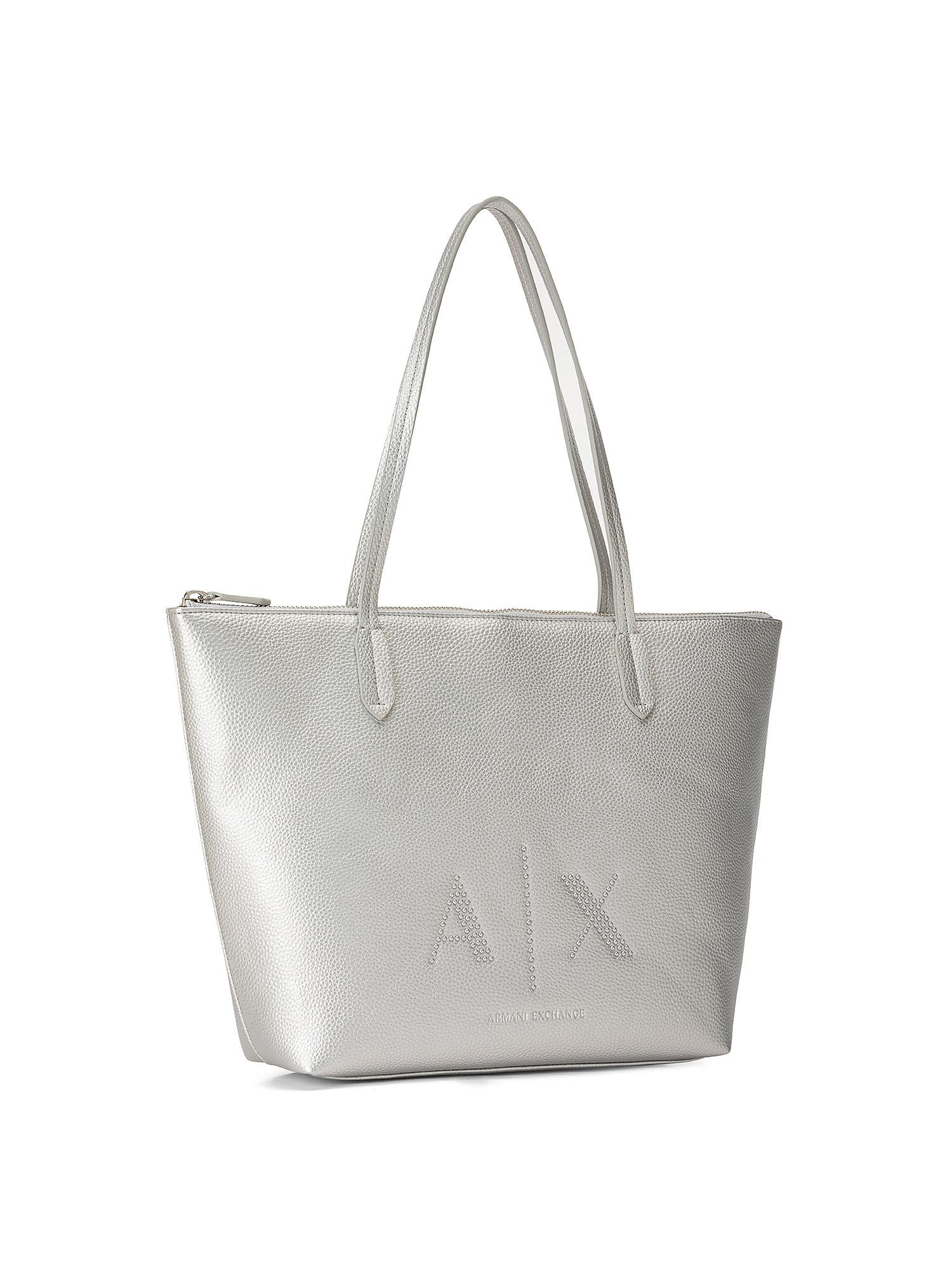 Shopper con borchiette applicate, Grigio argento, large image number 1