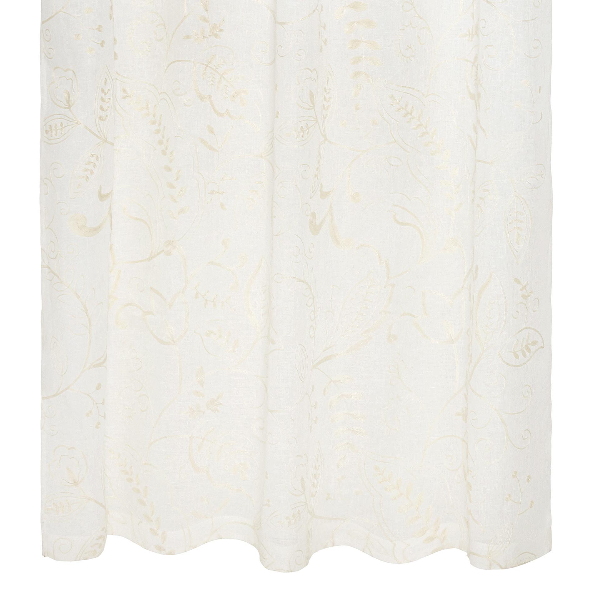 Tenda puro lino ricami floreali, Bianco, large image number 1