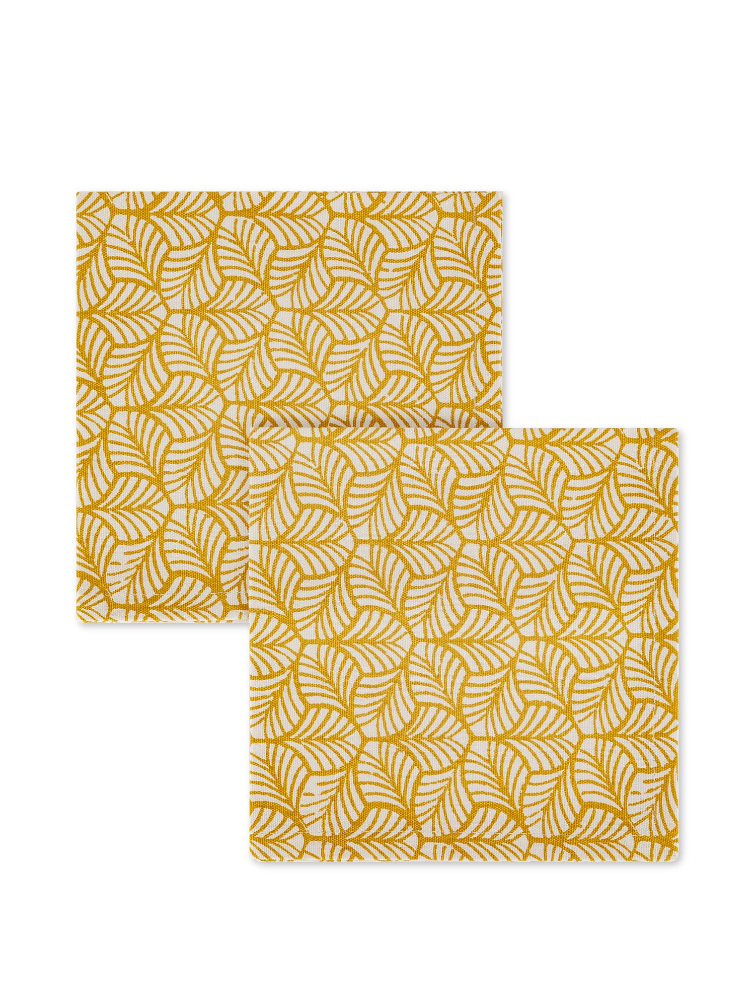 Set 2 tovaglioli puro cotone stampa foglie, Giallo, large image number 0