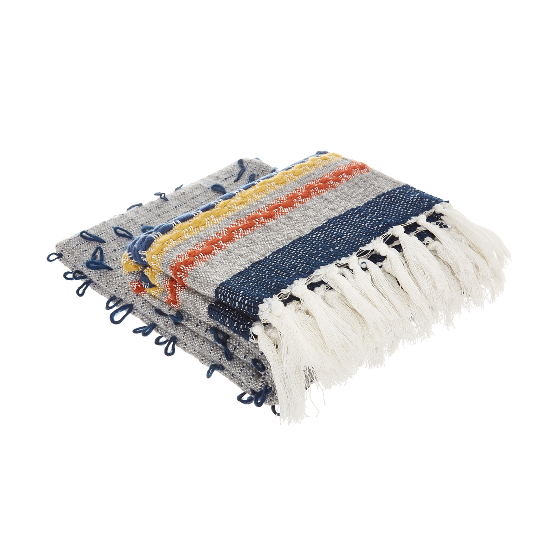 Plaid tessuto ricamato con frange, Multicolor, large image number 0