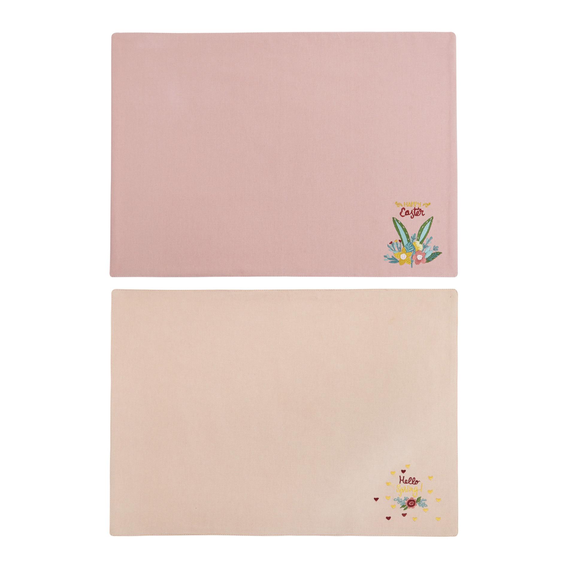 Set 2 tovagliette puro cotone ricamo pasquale, Rosa, large image number 0