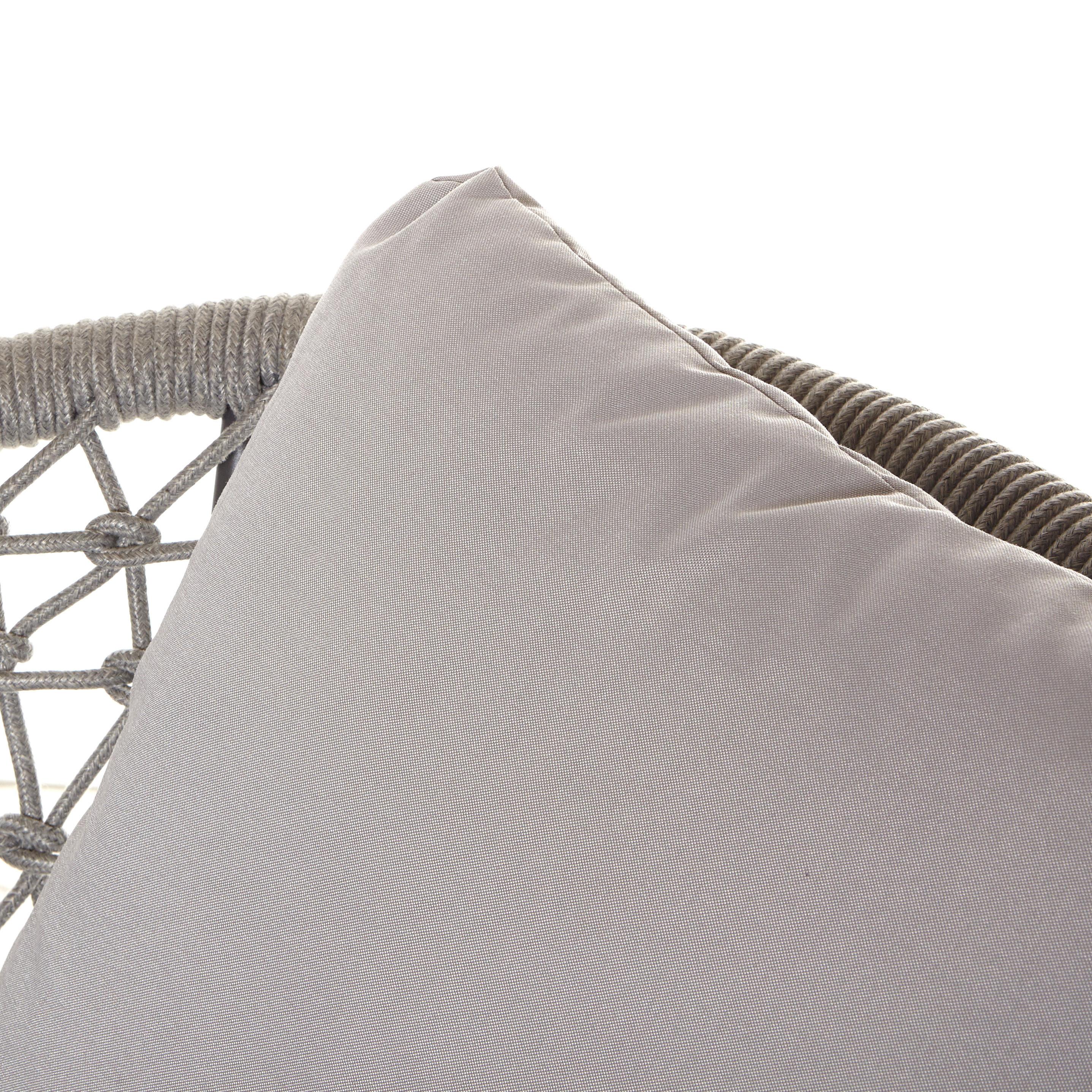 Poltrona in corda e alluminio Seychelles, Grigio chiaro, large image number 1