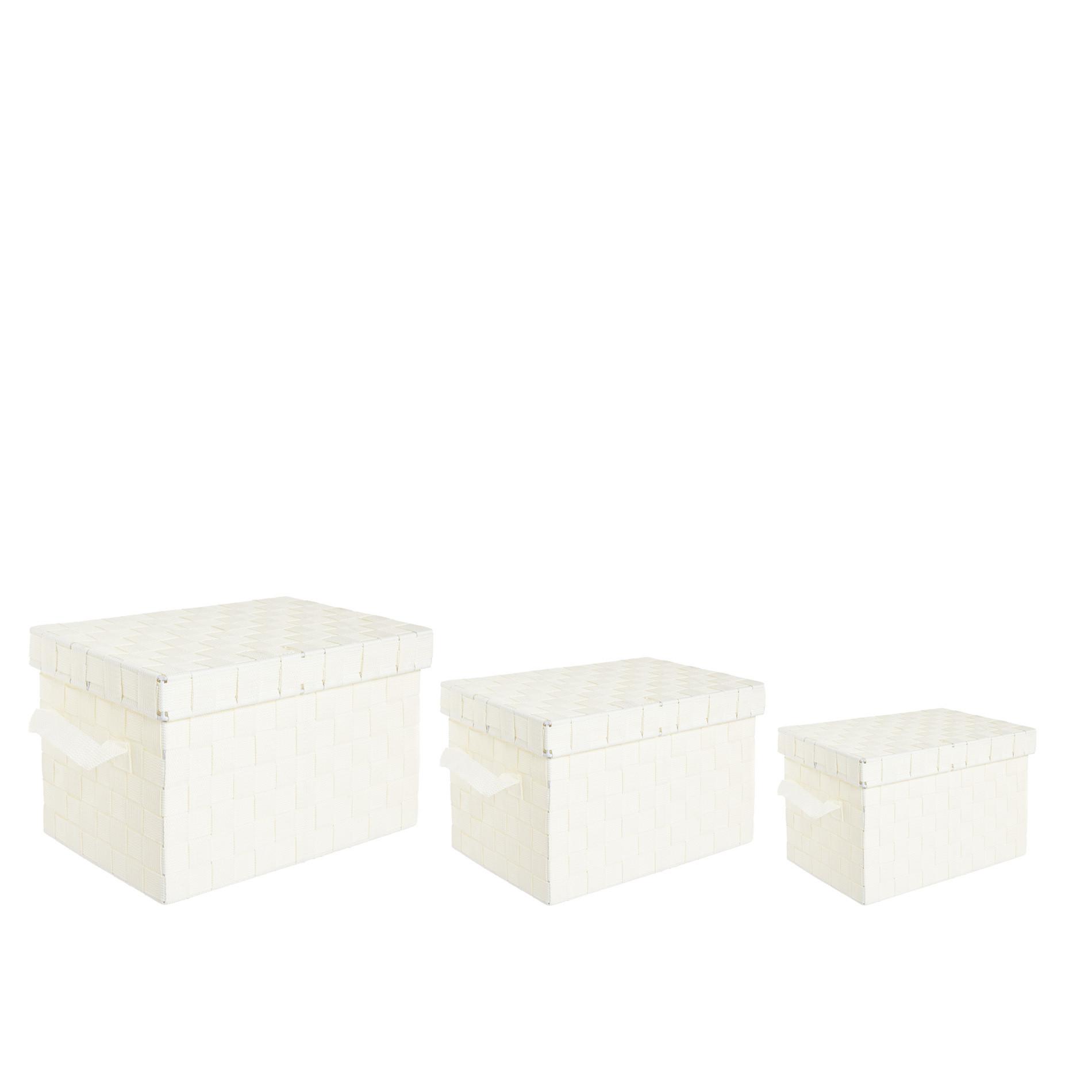 Storage box a nastri intrecciati, Bianco, large image number 2