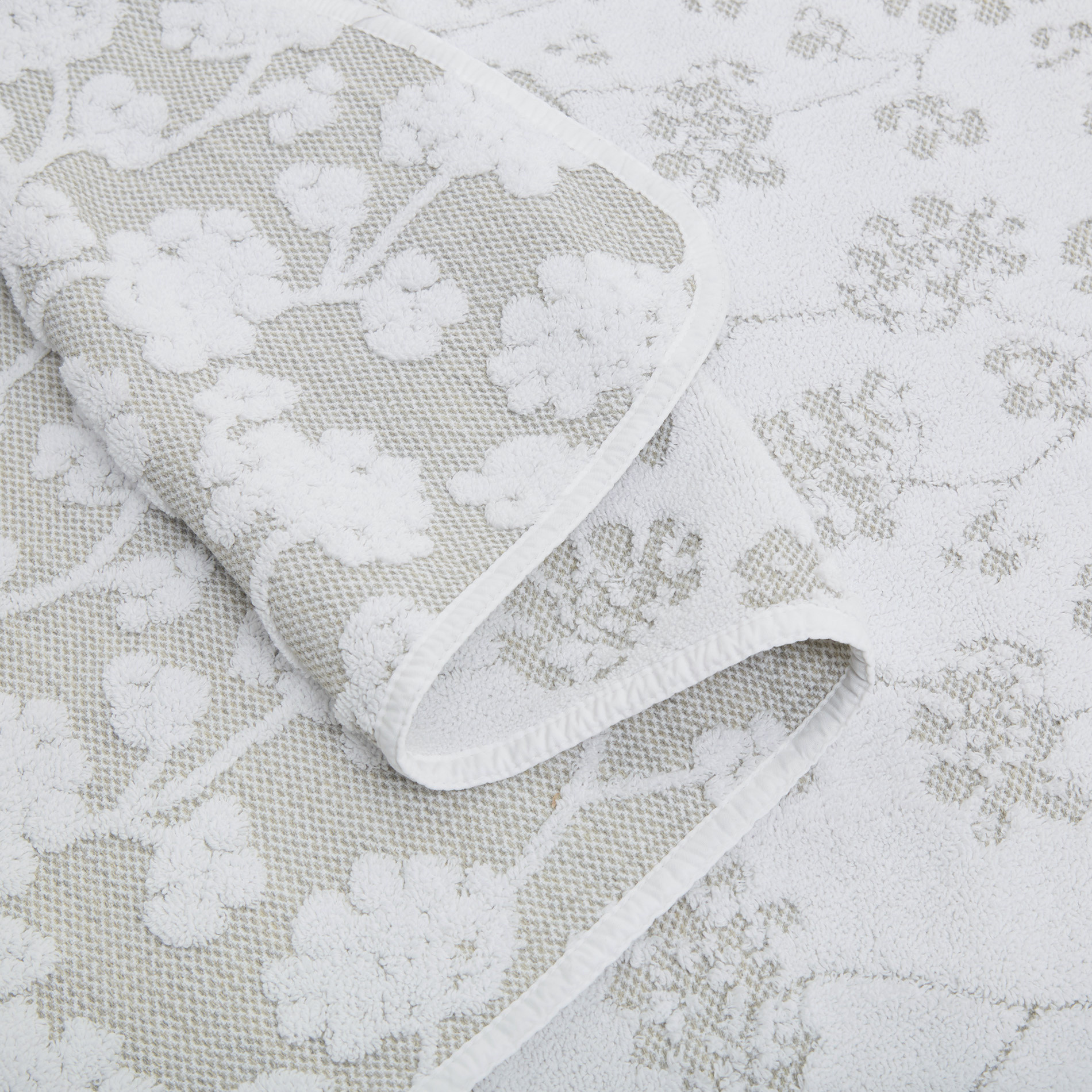 Asciugamano puro cotone a fiori Thermae, Beige chiaro, large image number 3