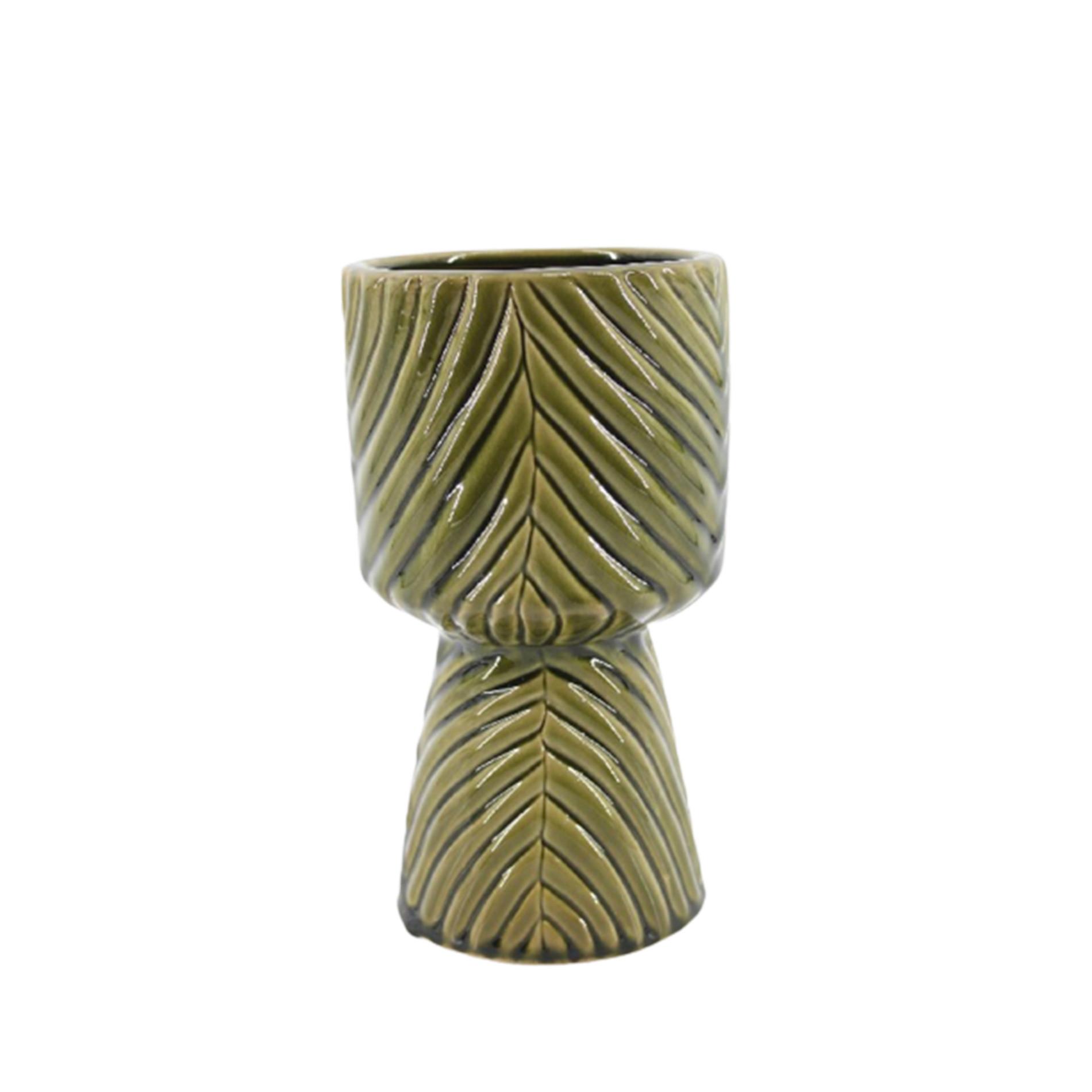 Vaso porcellana Leaf, Verde scuro, large image number 0