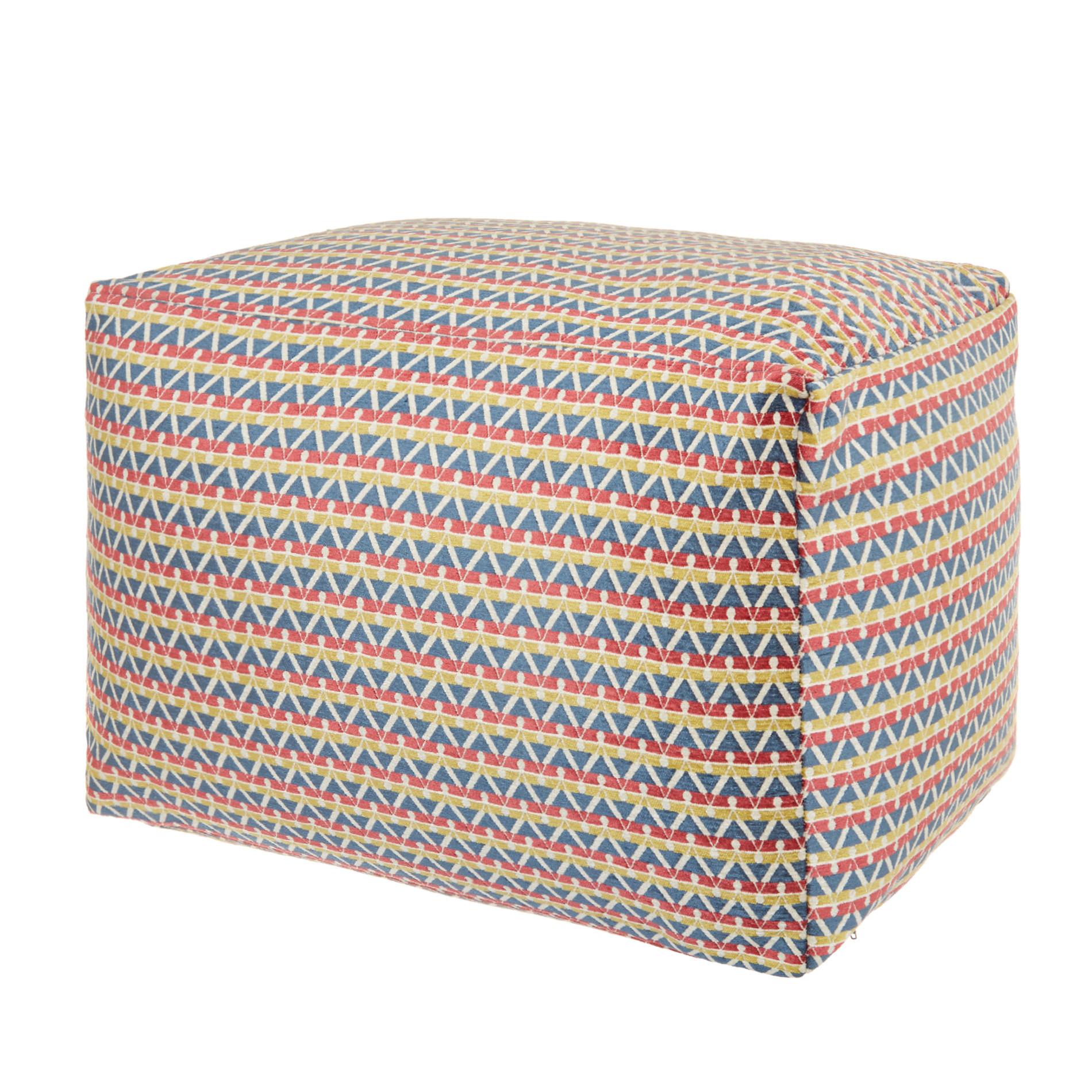 Pouf tessuto jacquard motivo geometrico, Multicolor, large image number 0