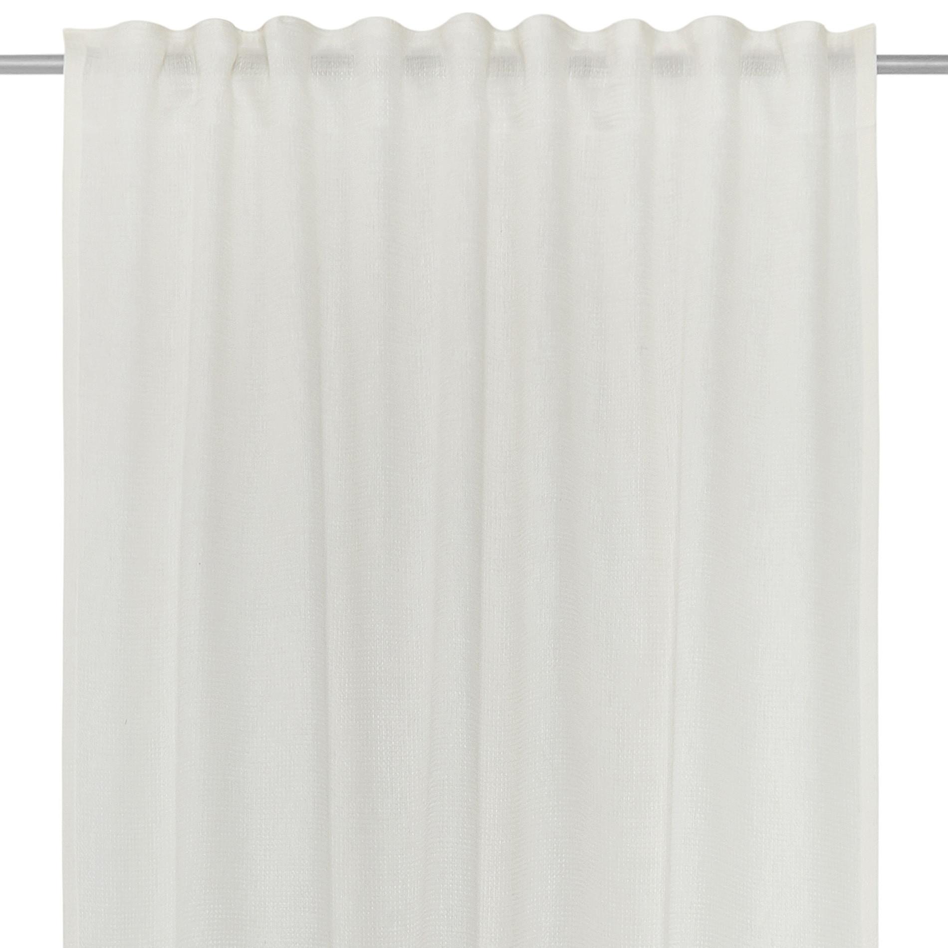 Tenda misto lino passanti nascosti, Bianco, large image number 3
