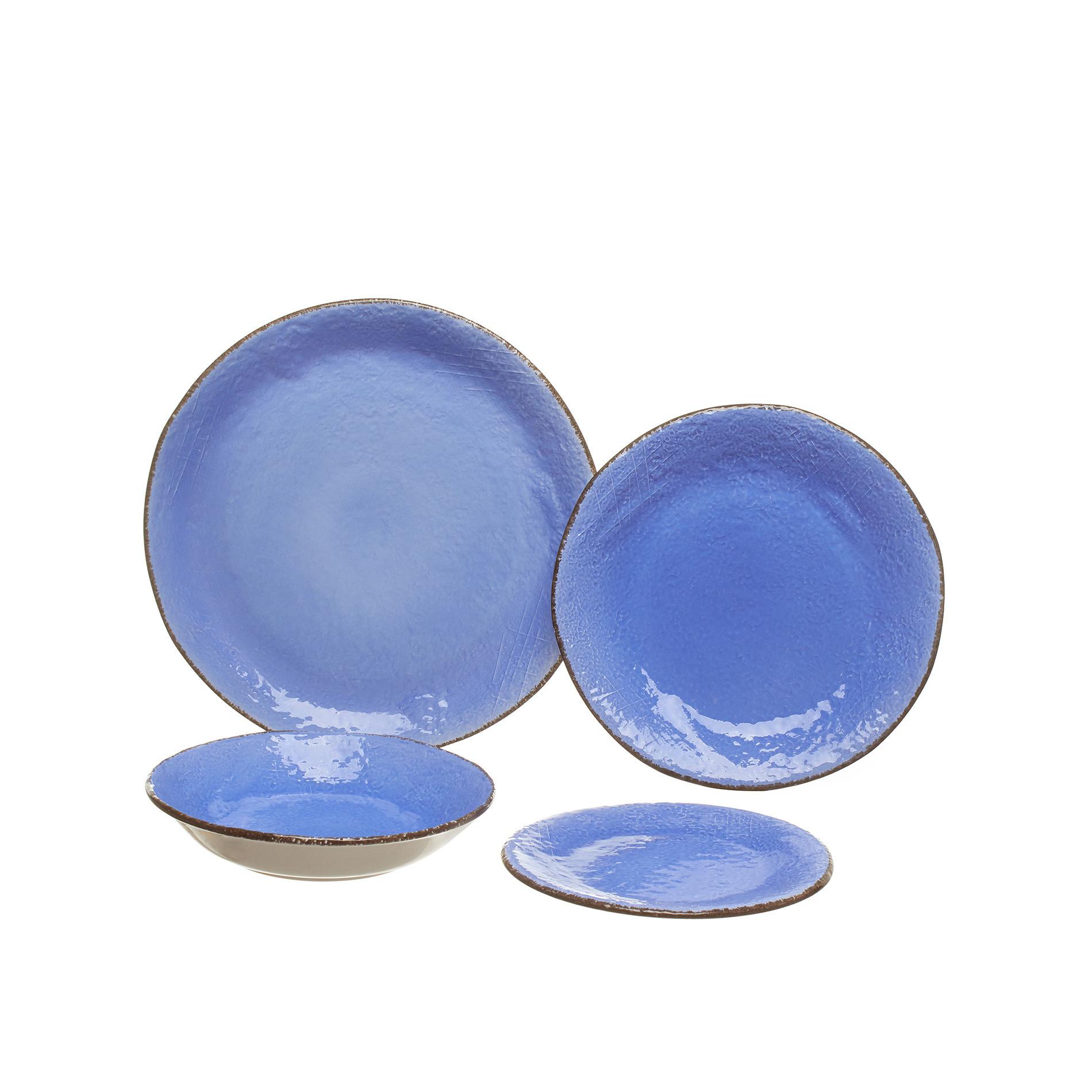 Piatto fondo ceramica artigianale Preta, Azzurro, large image number 1