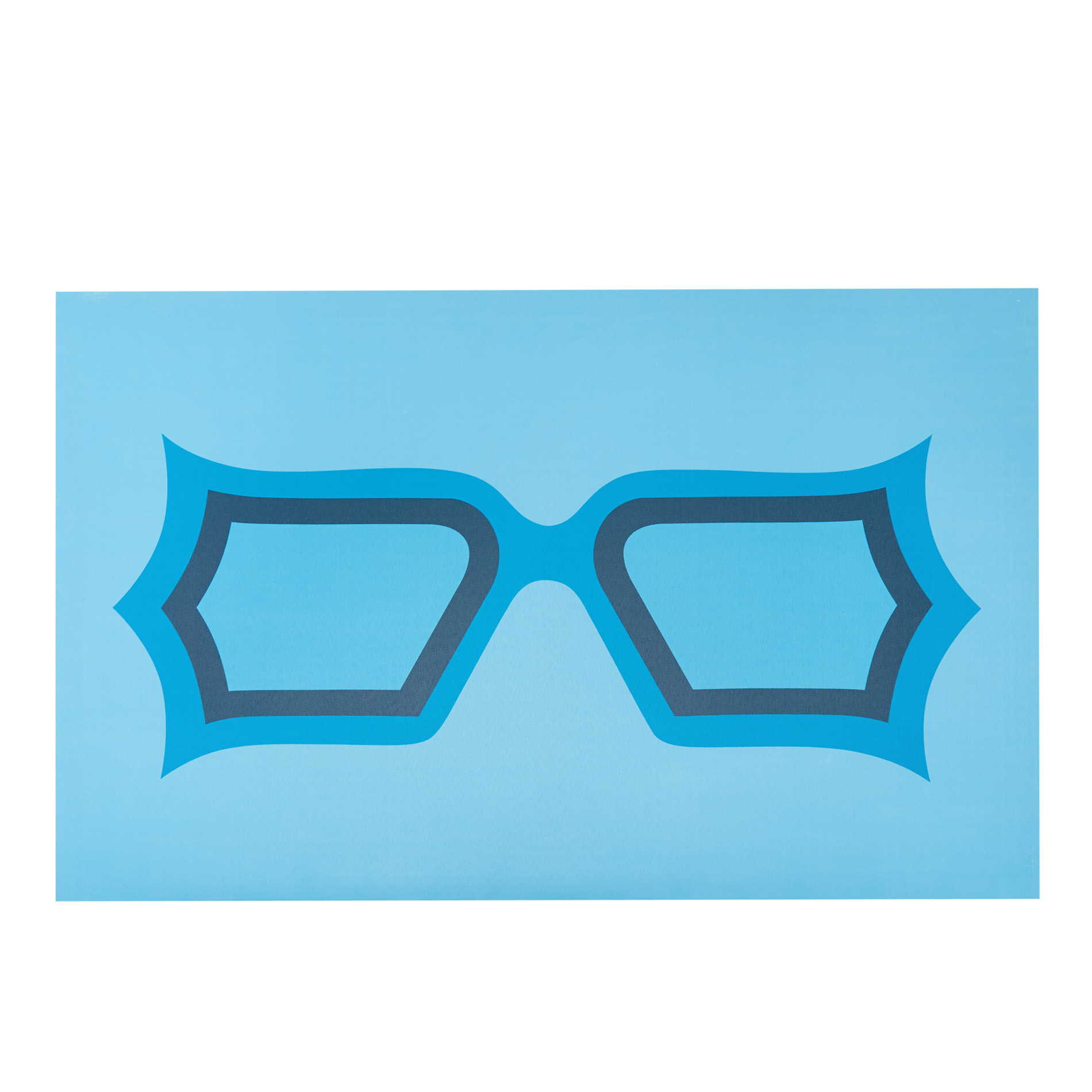 Tela con stampa fotografica occhiali, Blu, large image number 0