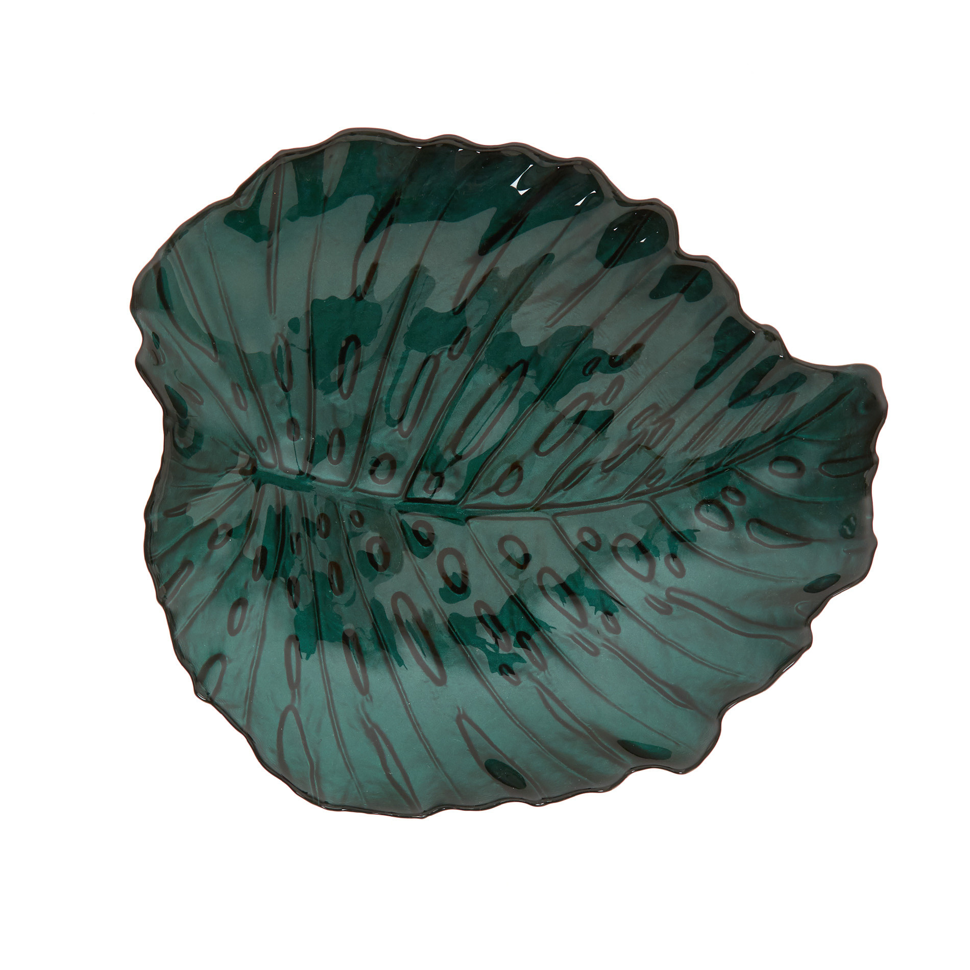 Piatto da portata vetro a foglia, Verde scuro, large image number 0