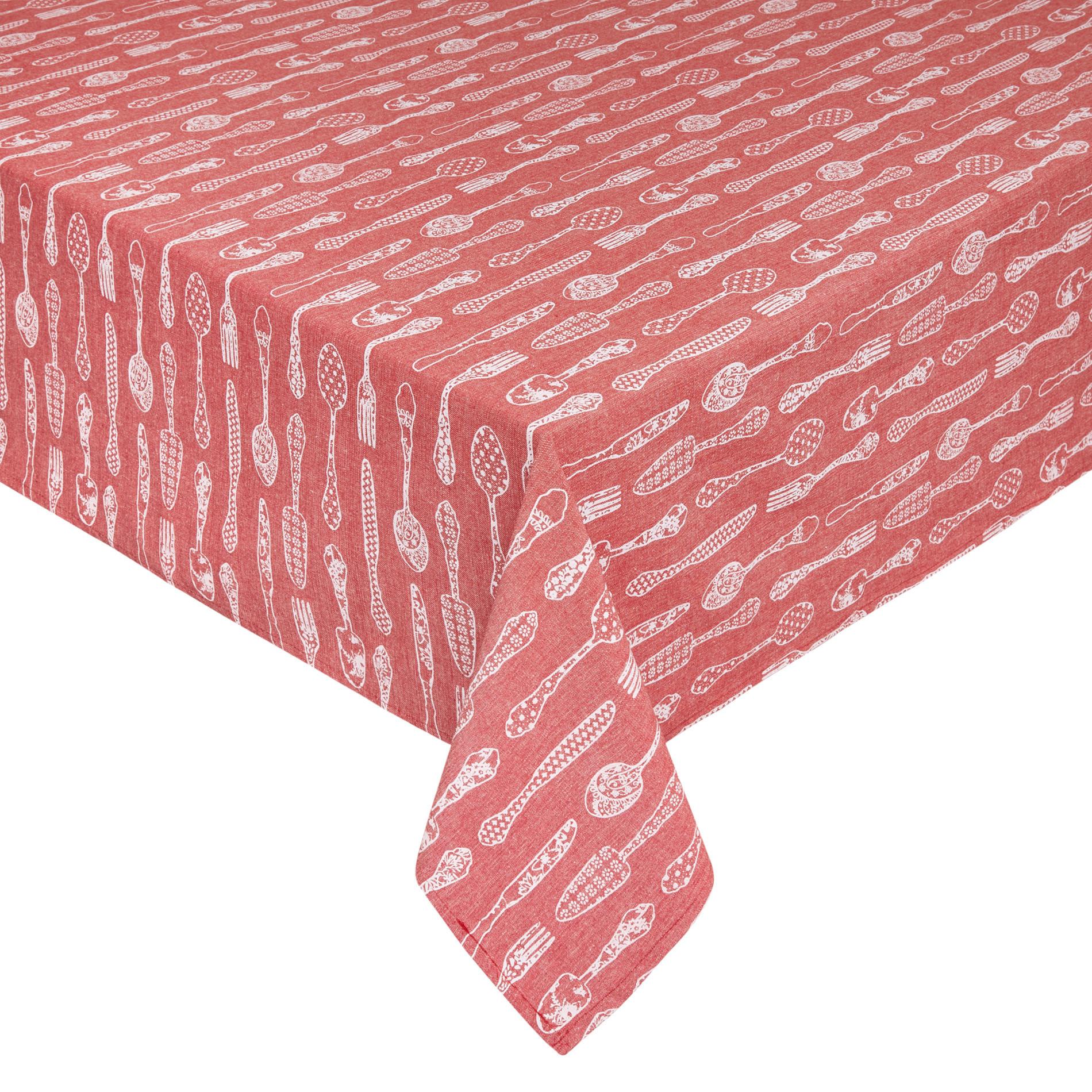 Tovaglia puro cotone idrorepellente stampa posate, Rosso, large image number 0