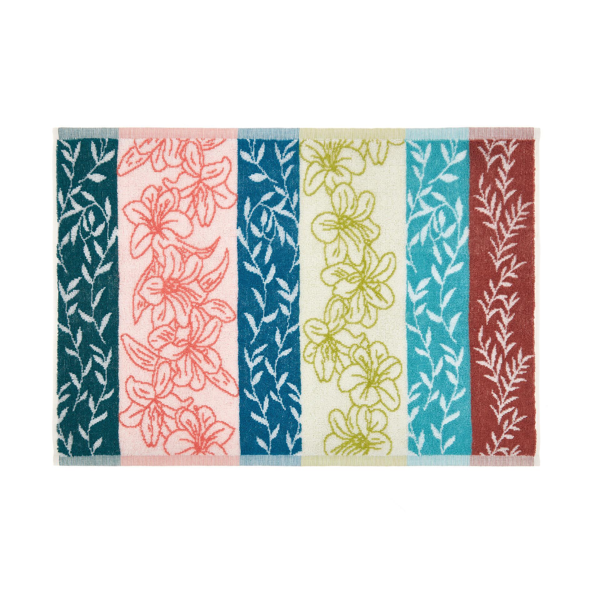 Asciugamano cotone jacquard motivo floreale, Multicolor, large image number 1
