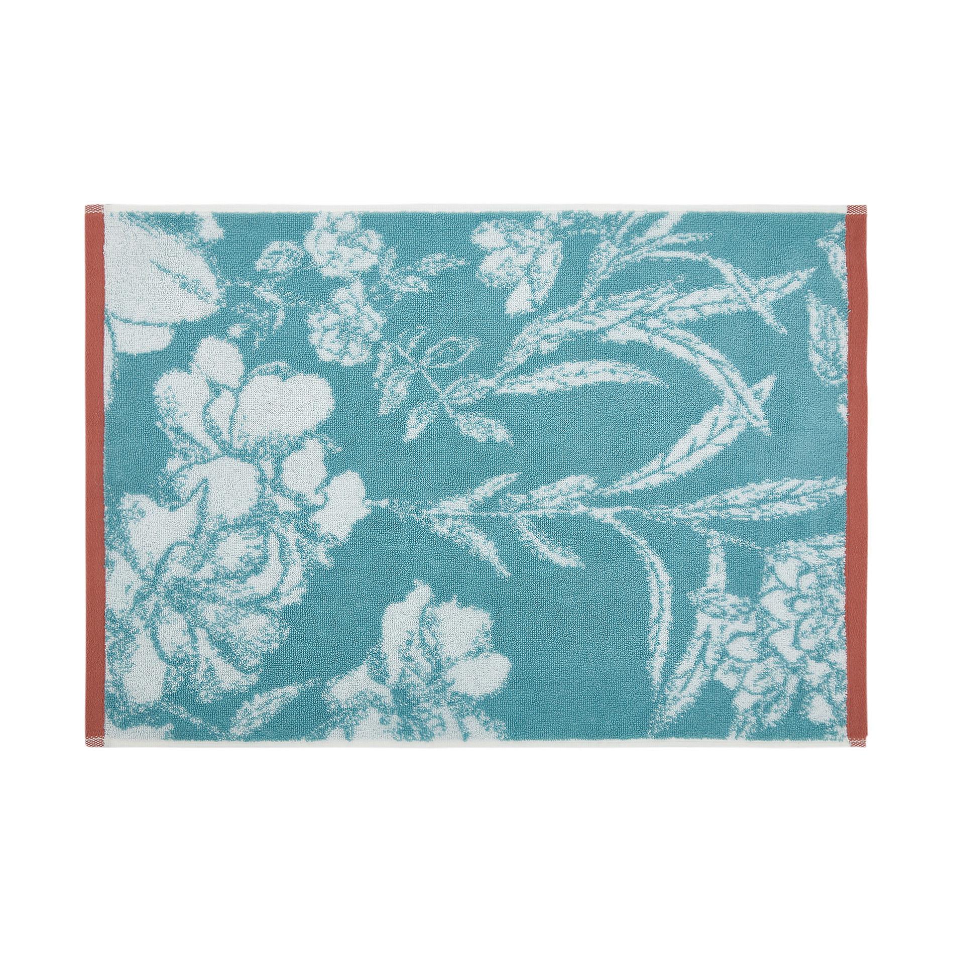 Asciugamano cotone biologico motivo floreale, Verde acqua, large image number 1