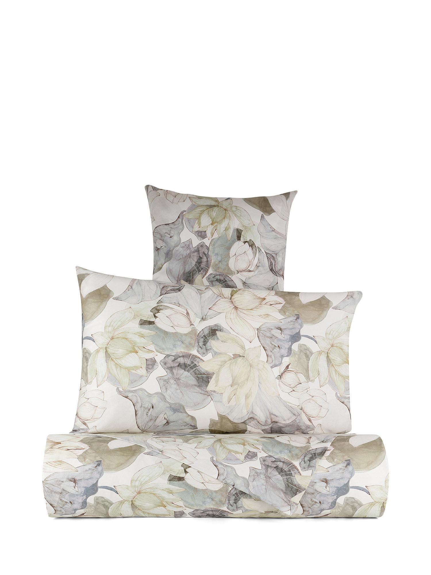 Lenzuolo liscio raso di cotone fantasia ninfea, Verde, large image number 0