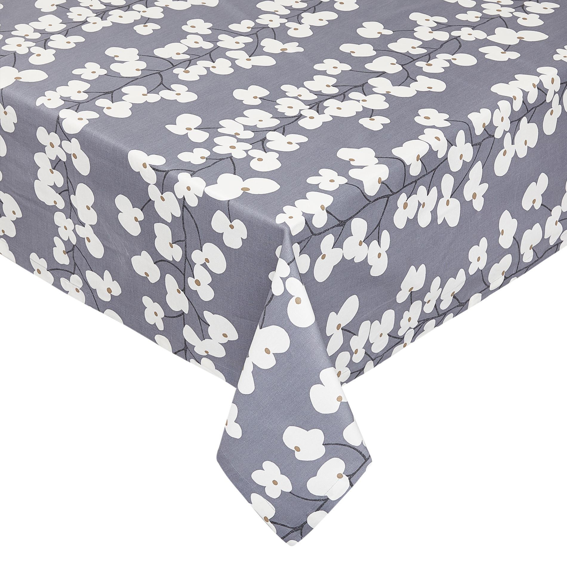 Tovaglia cotone stampa fiori, Bianco/Blu, large image number 0