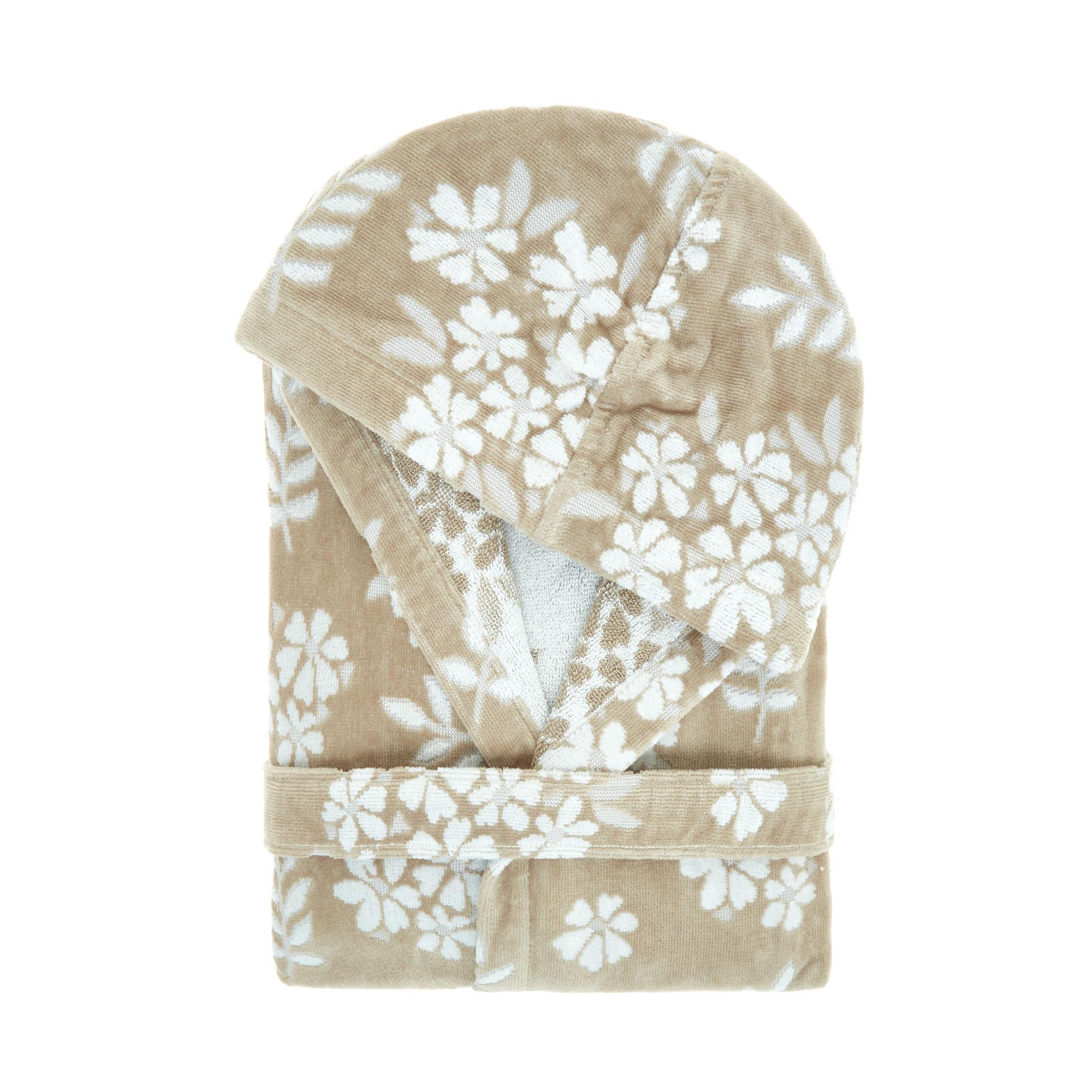 Accappatoio cotone velour motivo floreale Portofino, Beige, large image number 0