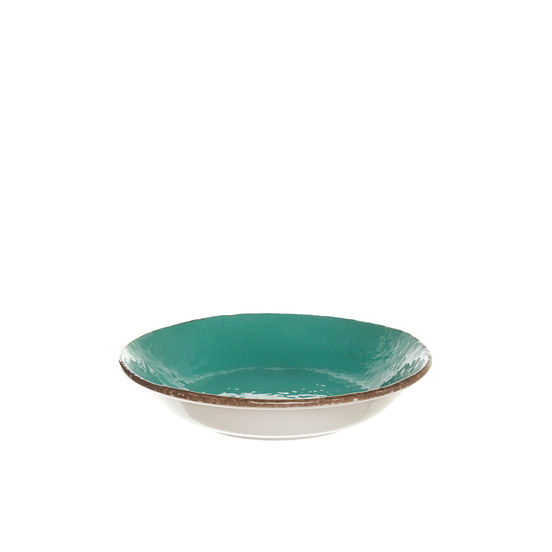 Piatto fondo ceramica artigianale Preta, Verde acqua, large image number 0