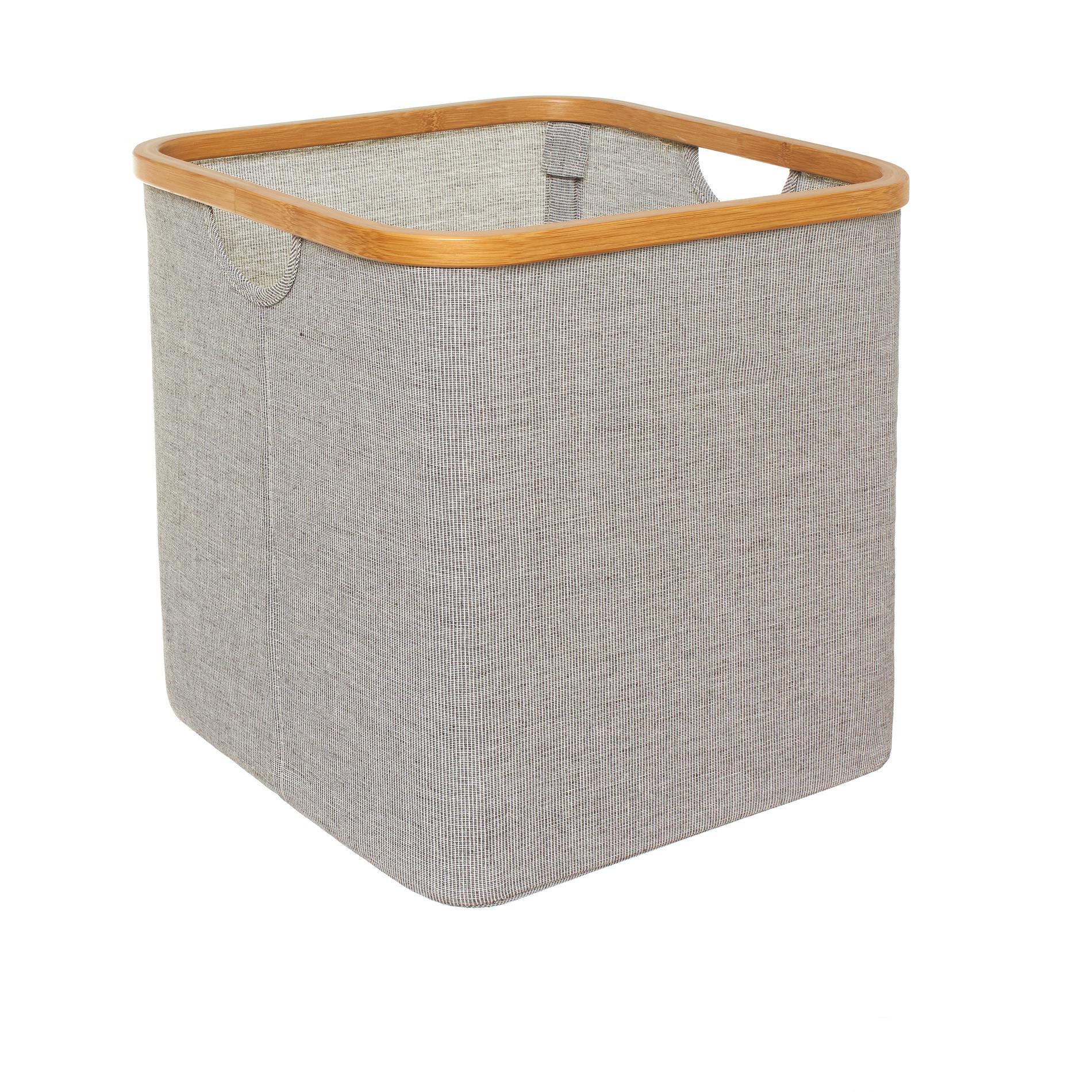 Cesto misto cotone e bordo in bamboo, Grigio, large image number 0