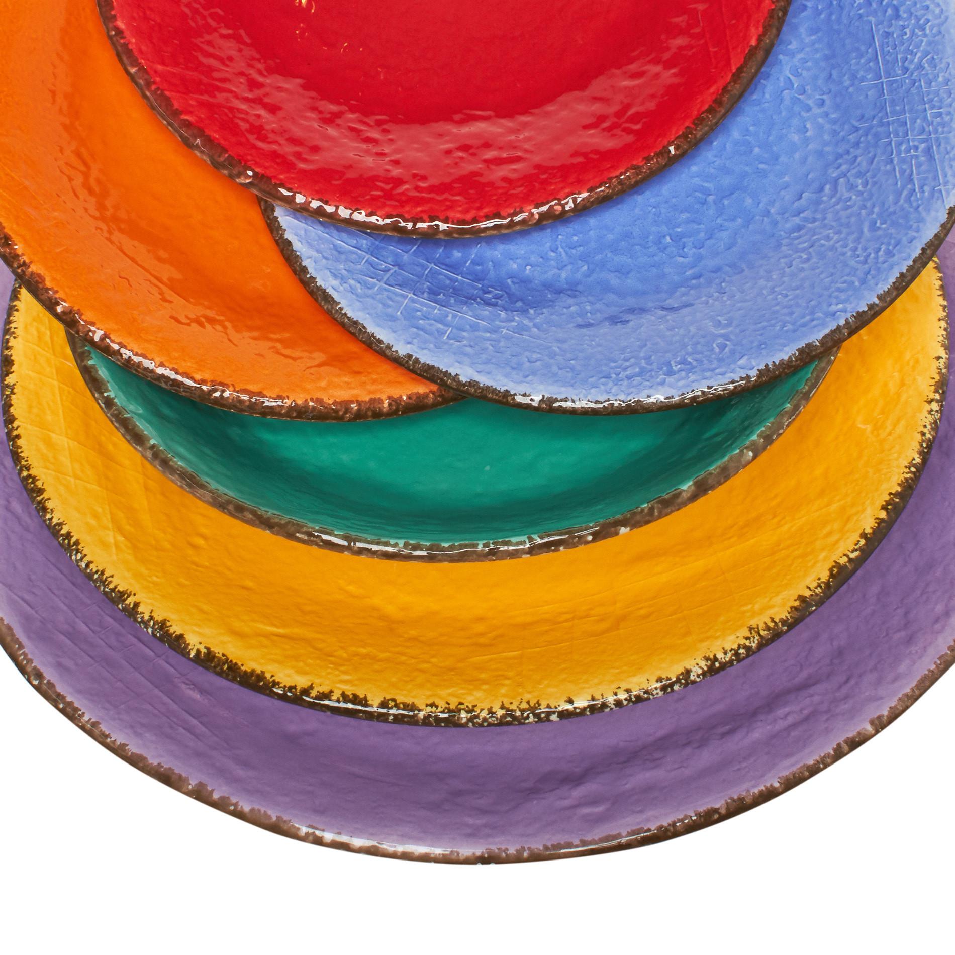 Piatto frutta ceramica fatto a mano, Azzurro, large image number 3