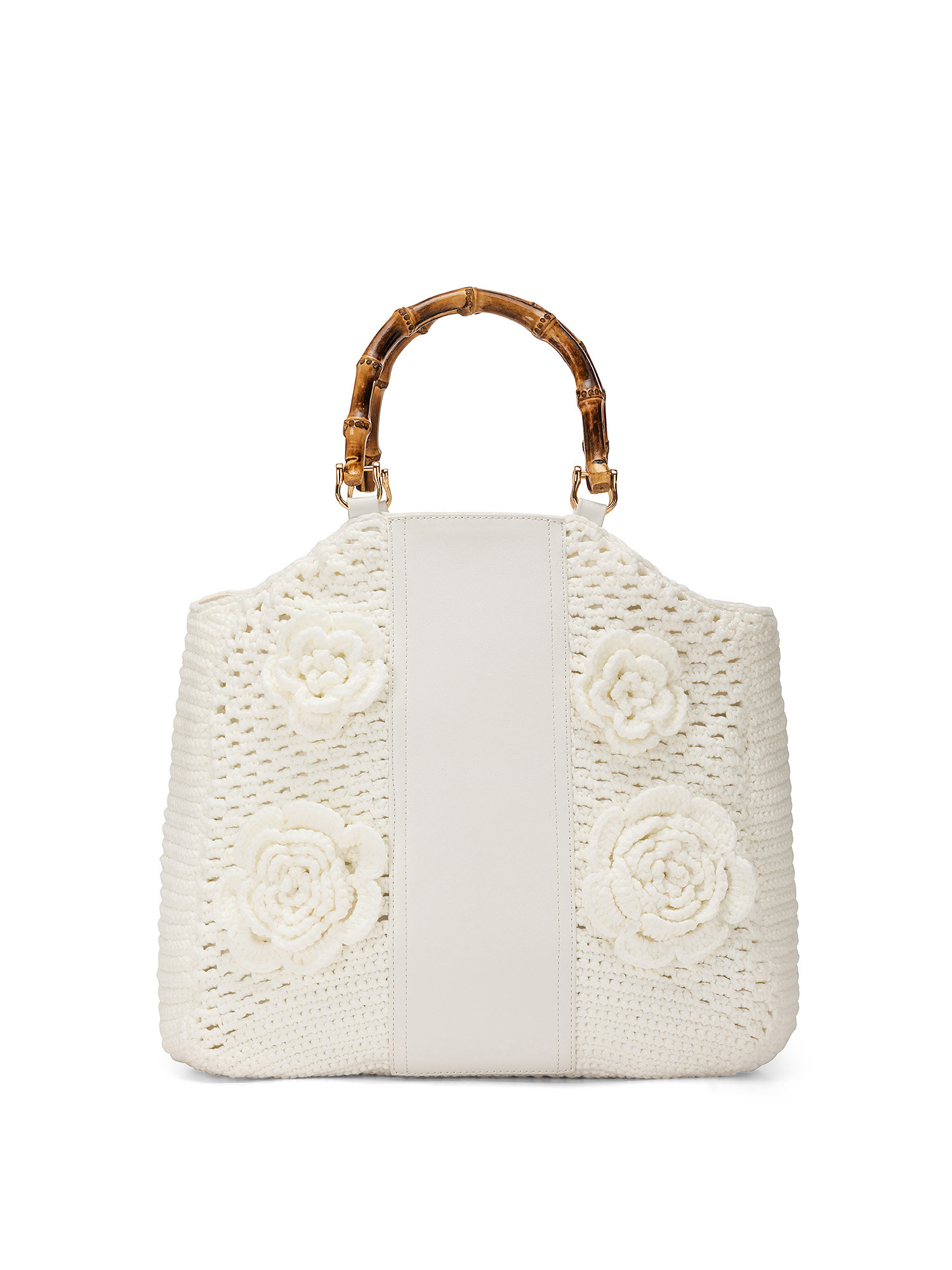 Shopper Crochet con applicazioni, Bianco, large image number 0