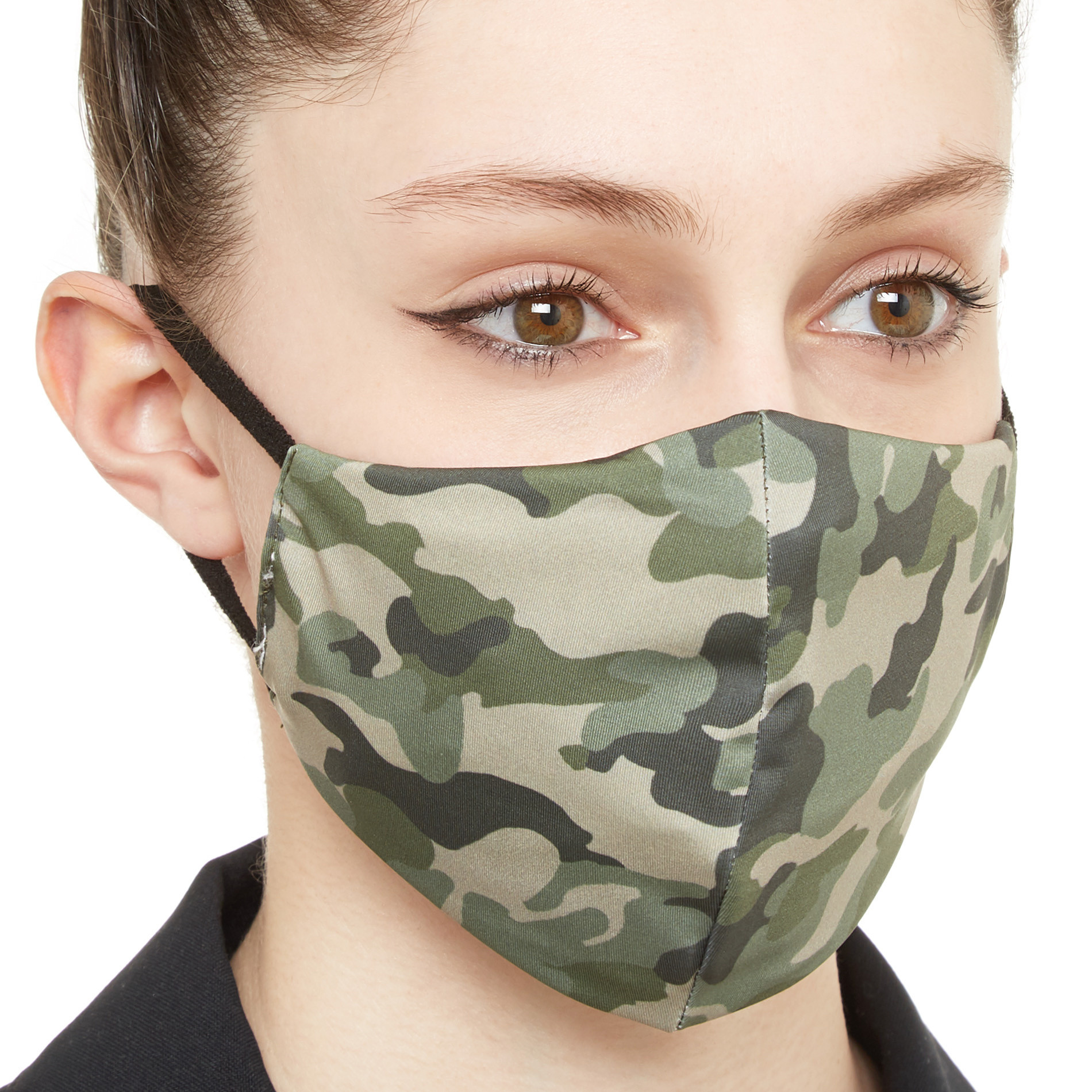 Mascherina lavabile tessuto camouflage, Verde scuro, large image number 1