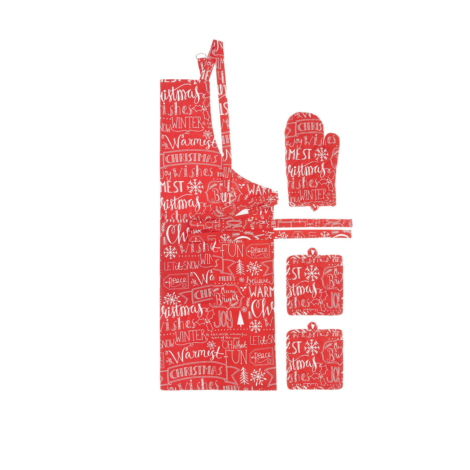 Set 2 presine+guanto da cucina+grembiule puro cotone stampa auguri, Rosso, large image number 0