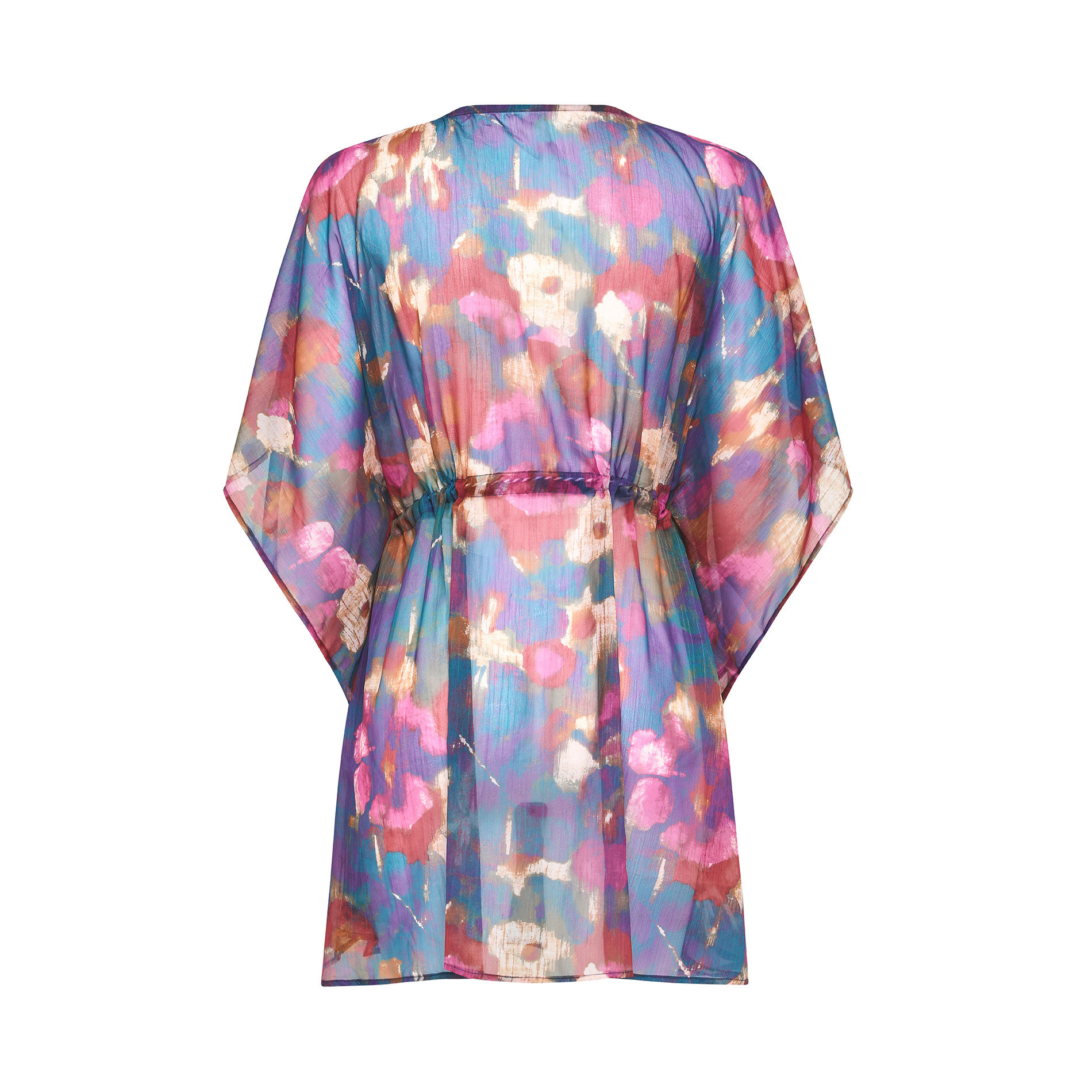 Poncho in chiffon stampa floreale, Multicolor, large image number 1