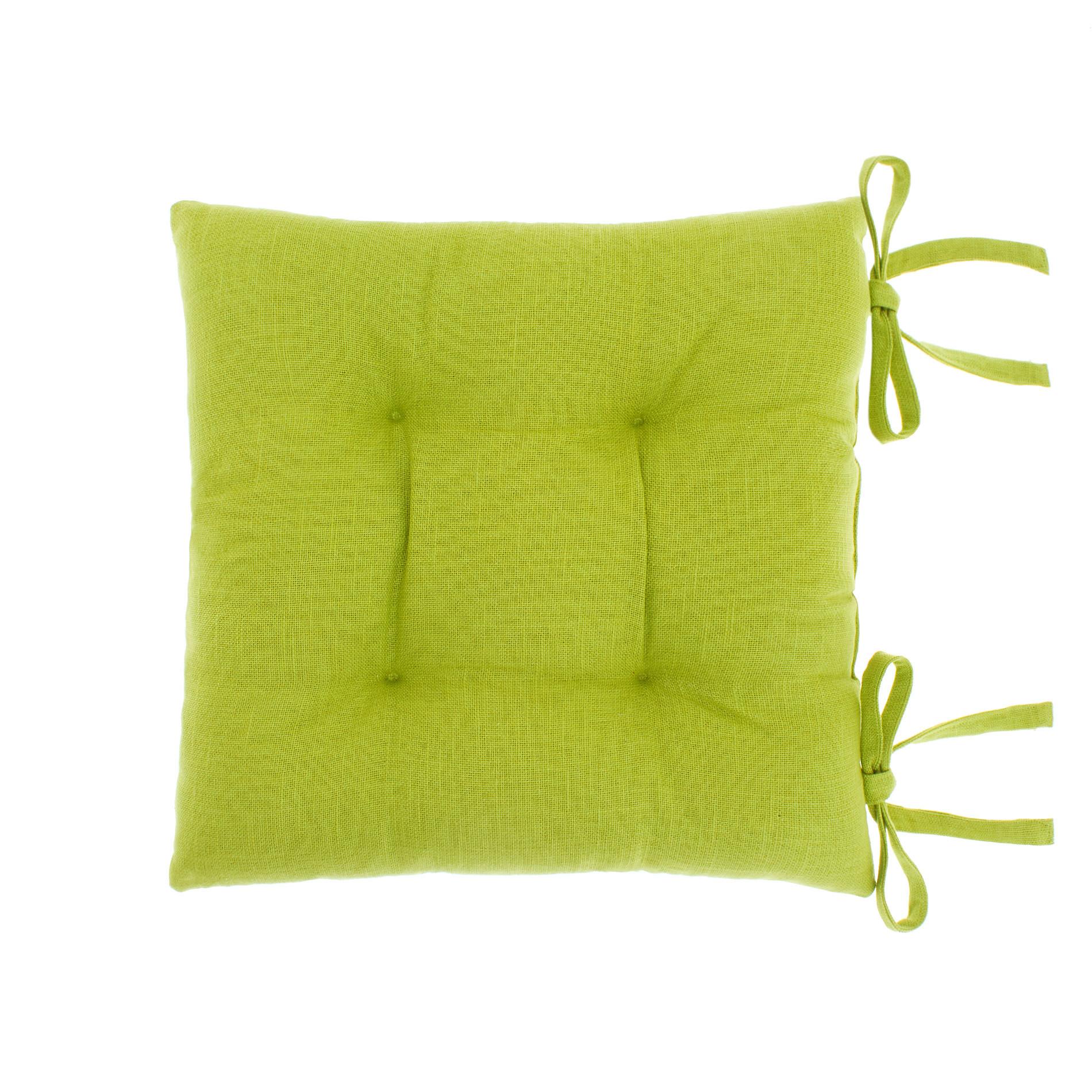 Cuscino da sedia puro cotone fiammato, Verde mela, large image number 0