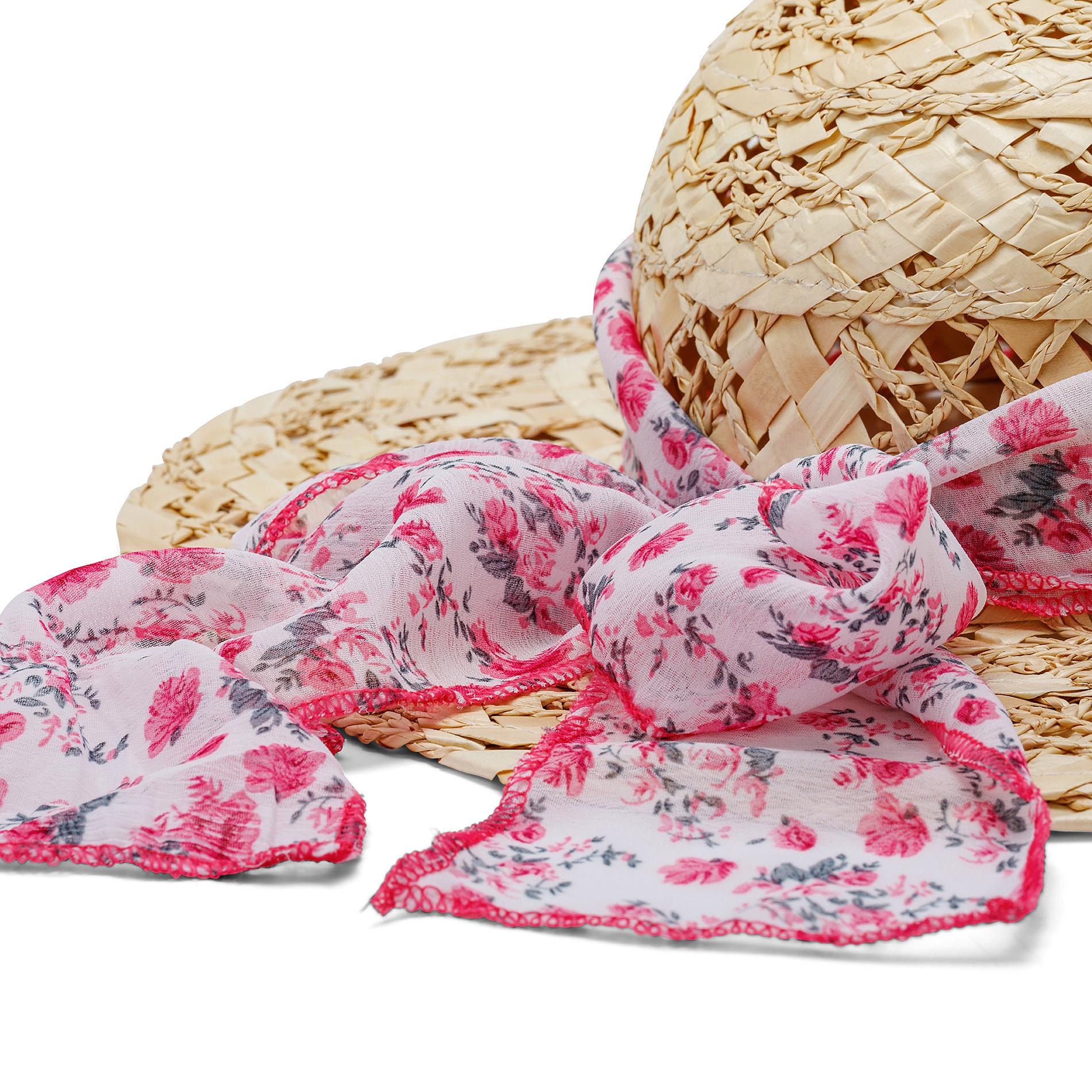Cappello di paglia con foulard fantasia Koan, Beige, large image number 1