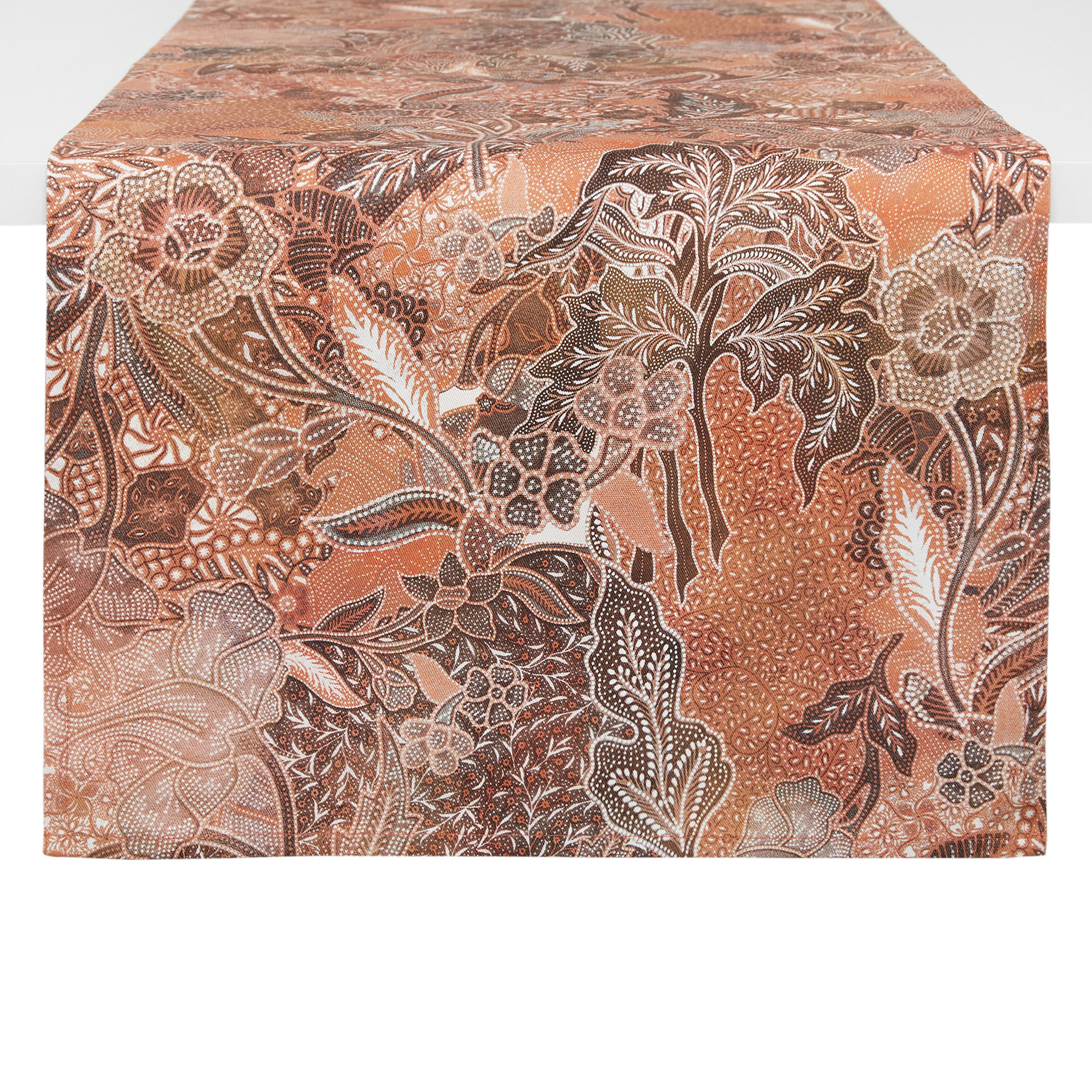 Runner puro cotone stampa foulard, Arancione, large image number 0