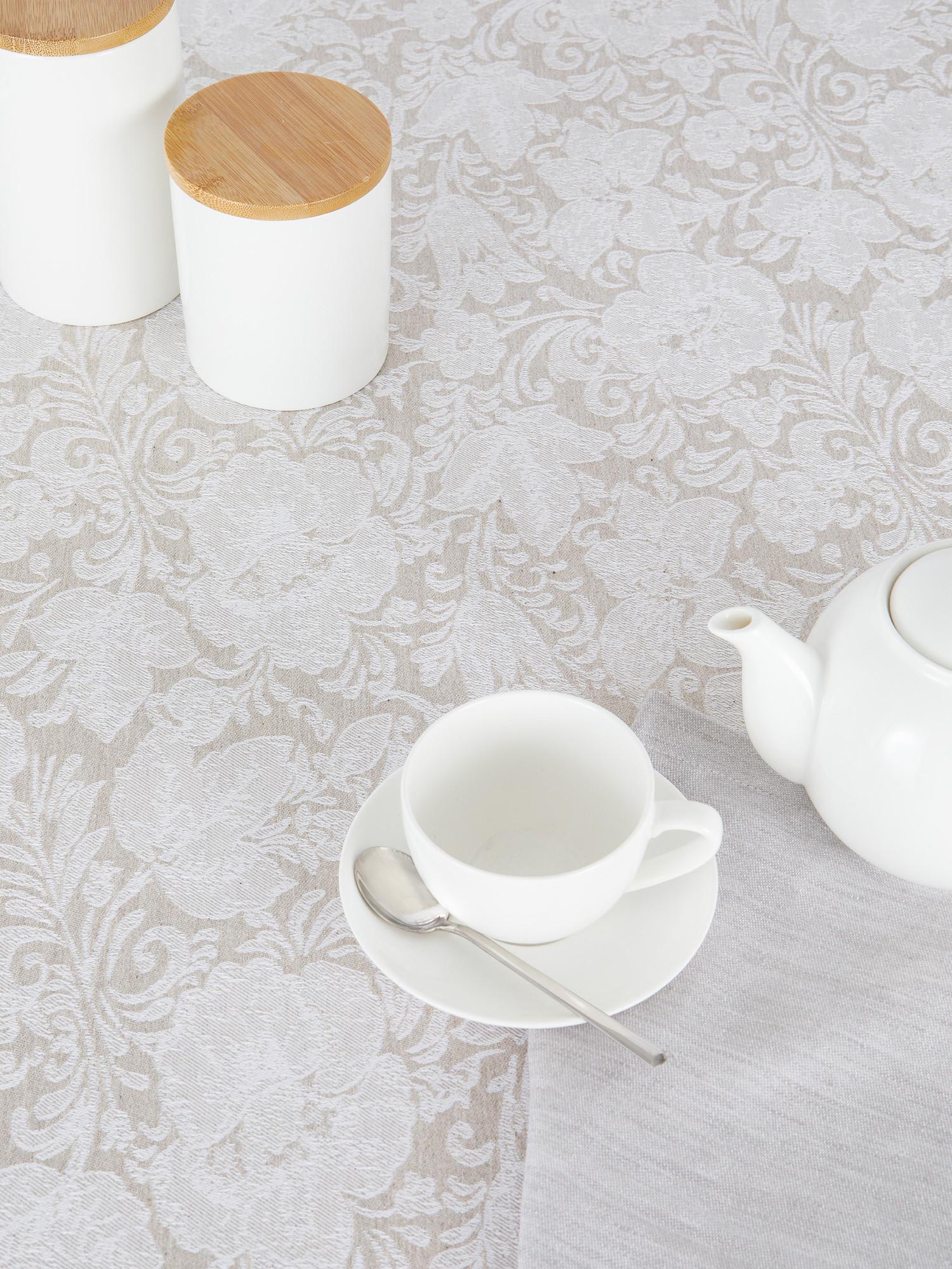 Tovaglia centrotavola lino e cotone motivo ornamentale, Bianco, large image number 1