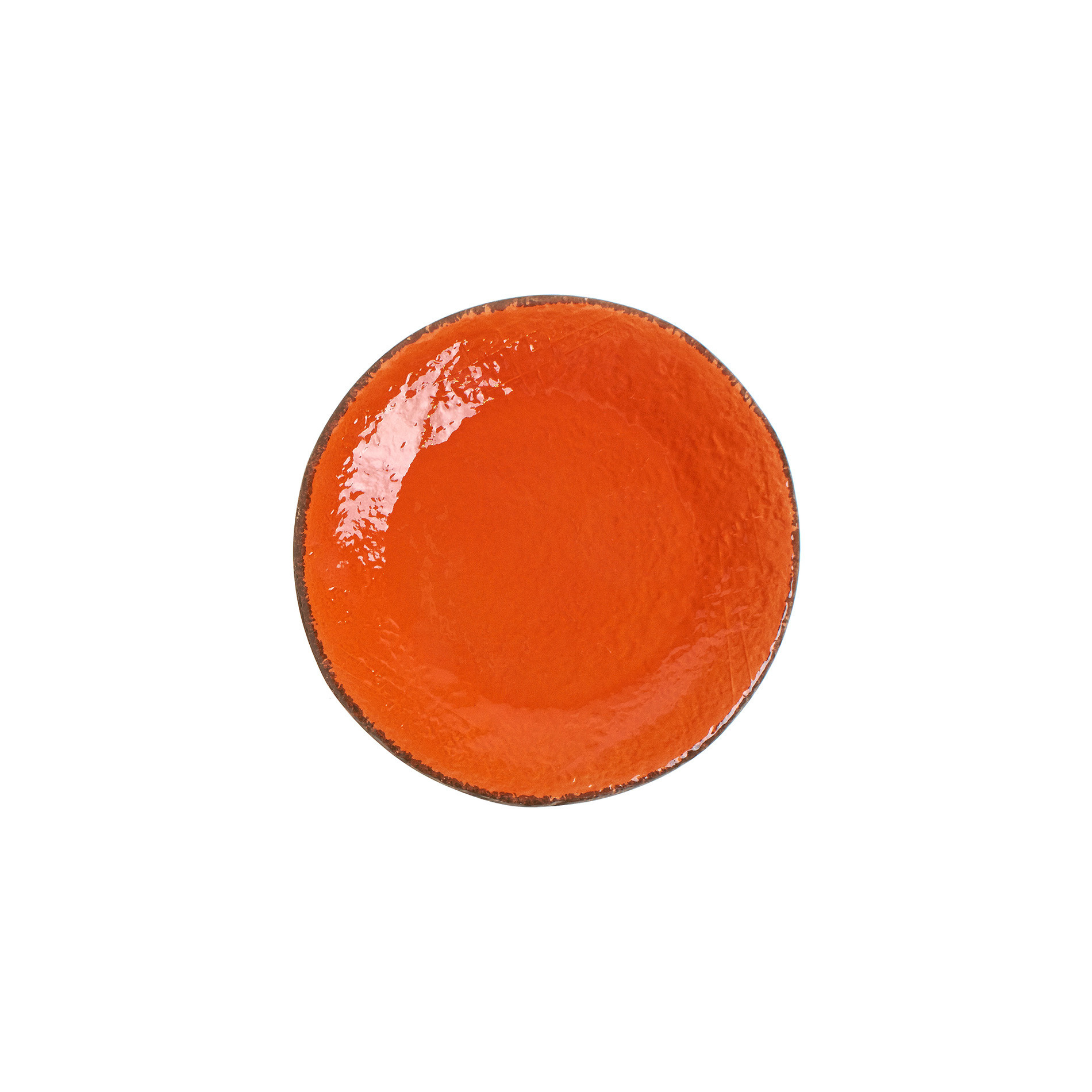 Piatto frutta ceramica fatto a mano, Arancione, large image number 0