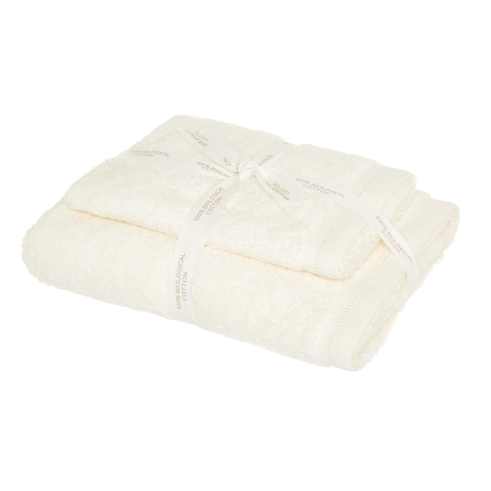 Set 2 asciugamani cotone biologico tinta unita, Bianco, large image number 0