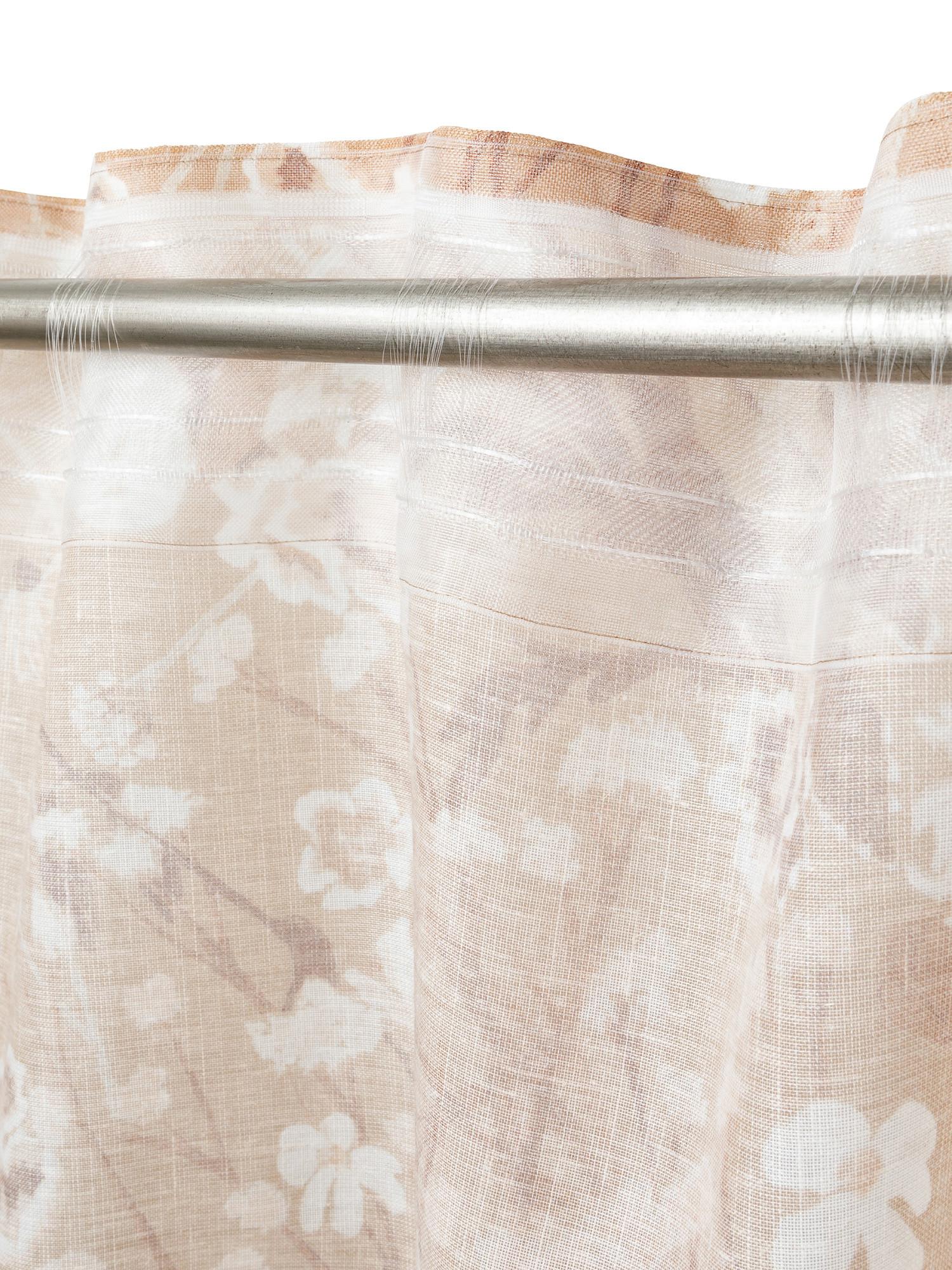Tenda stampa floreale con passanti nascosti, Beige, large image number 3