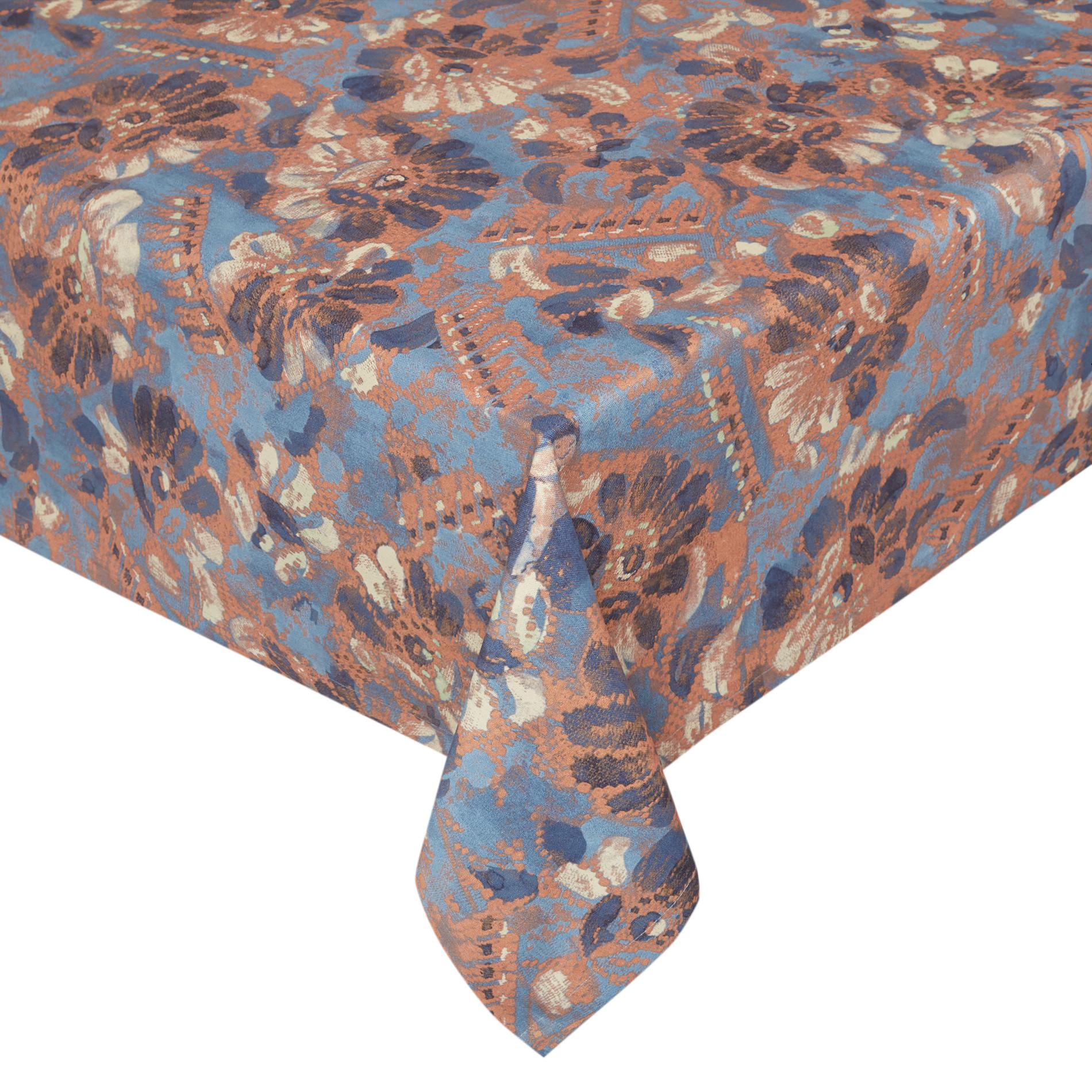 Tovaglia puro cotone stampa floreale, Azzurro, large image number 0