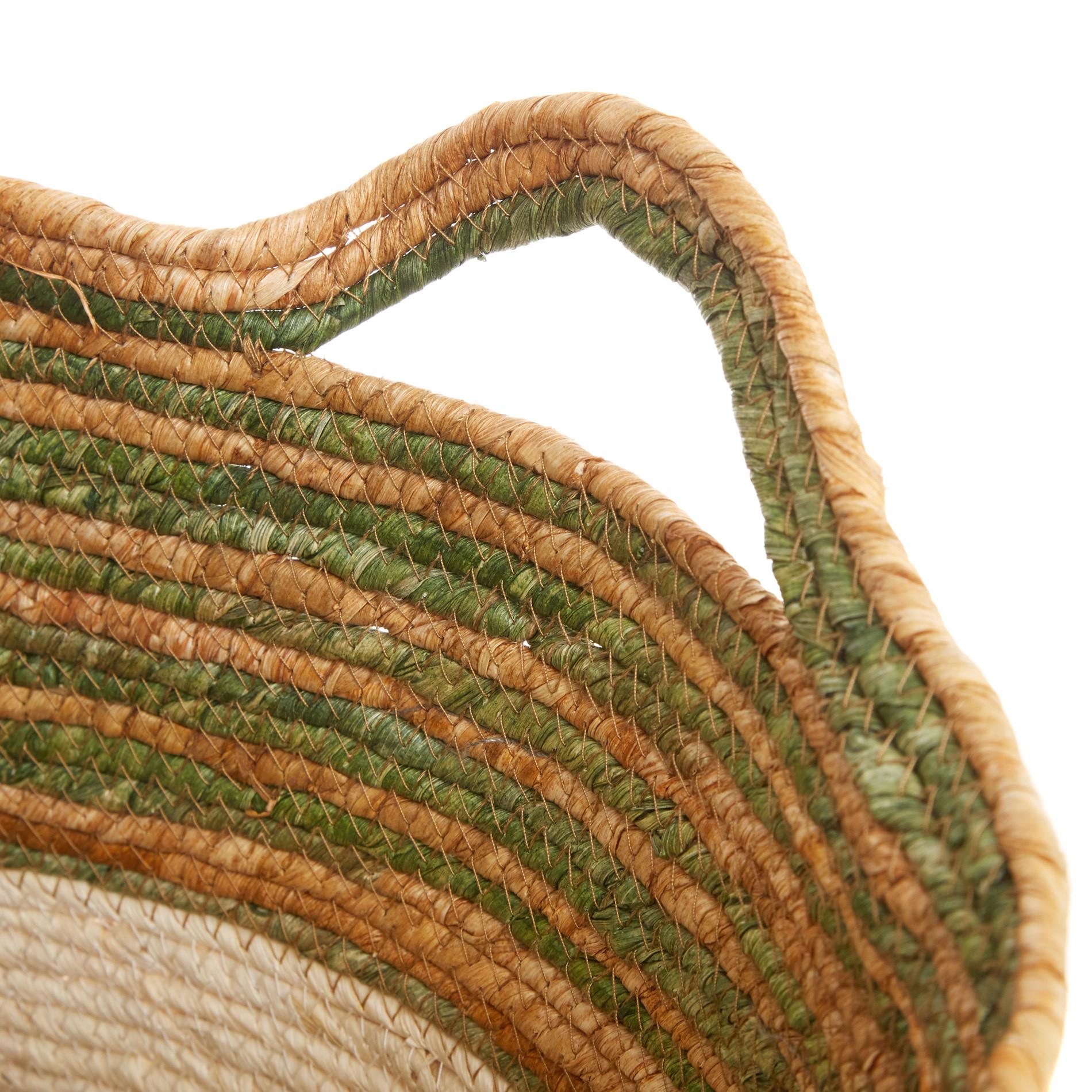 Cesto in foglie di mais intrecciato a mano, Bianco, large image number 1