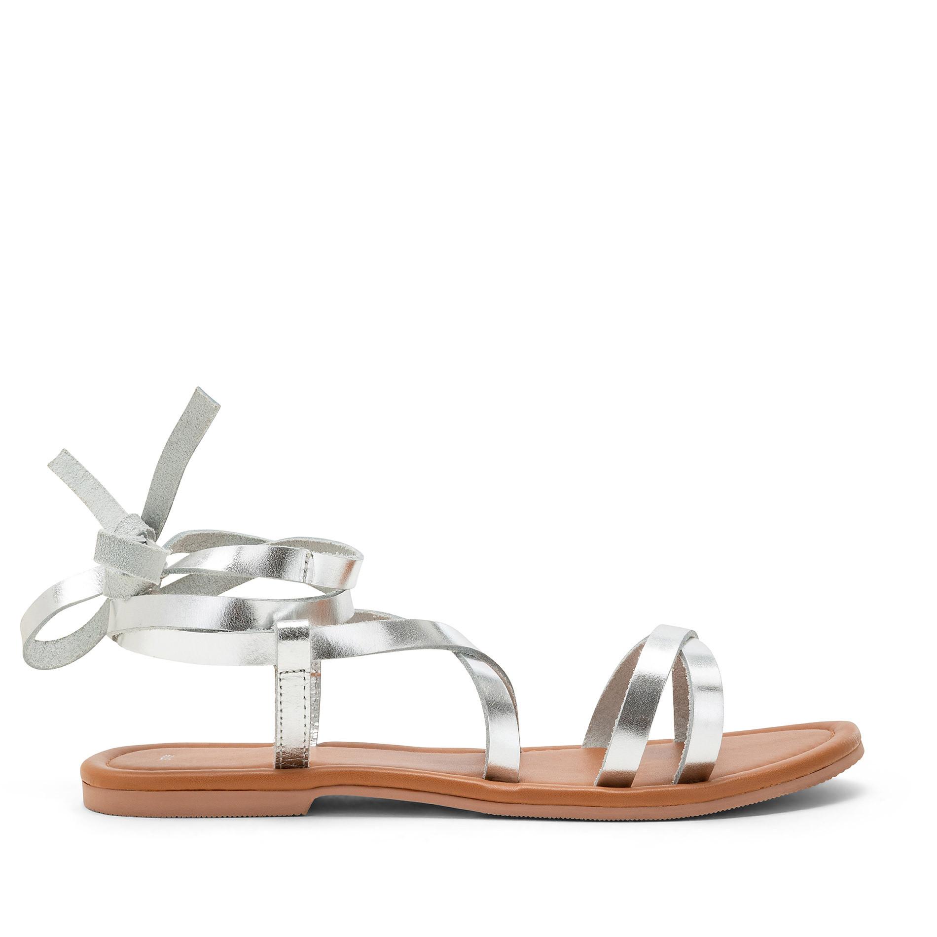 Sandalo con fascette metallizzate, Grigio argento, large image number 1